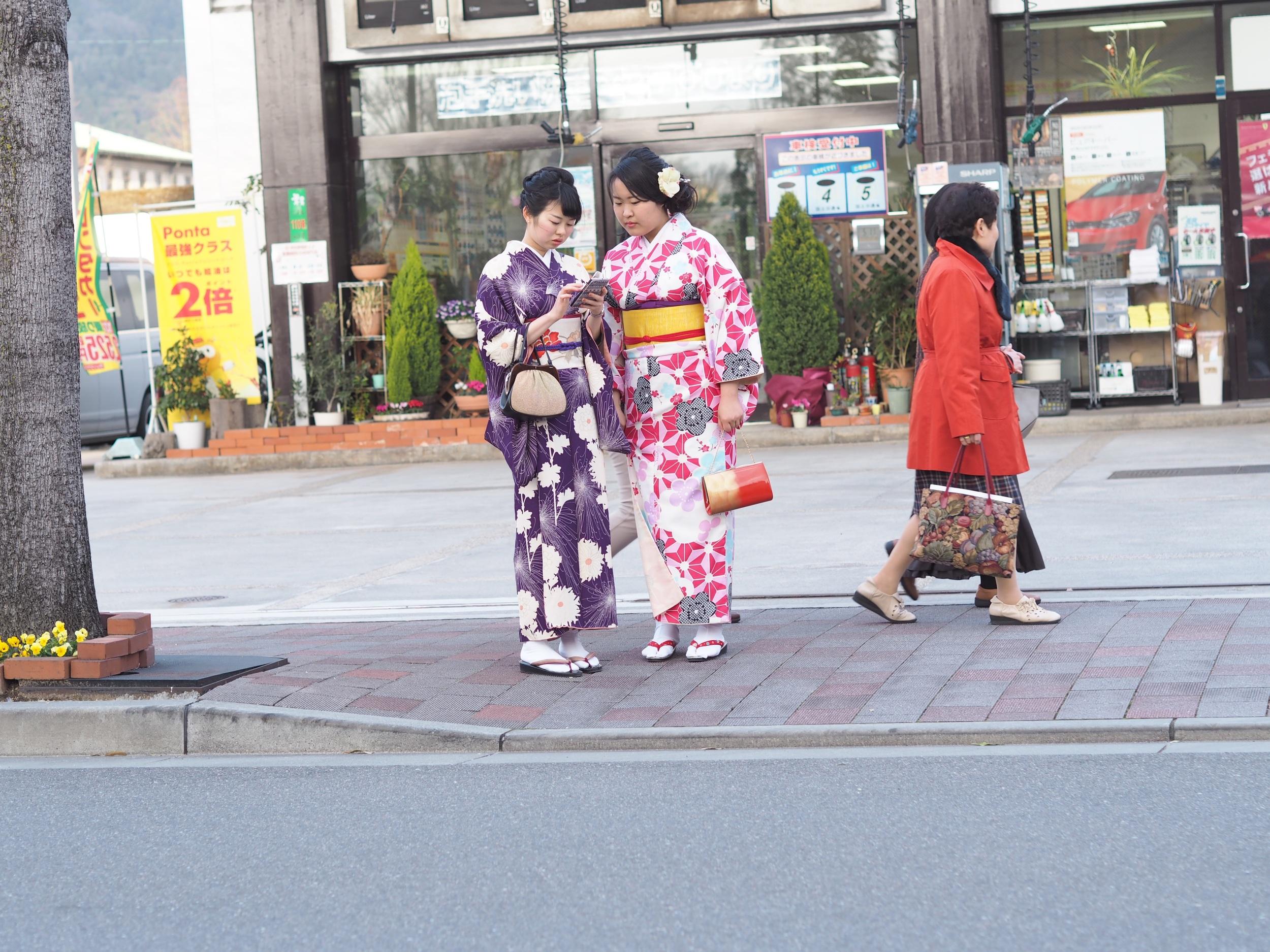 The iPhone matches the kimono