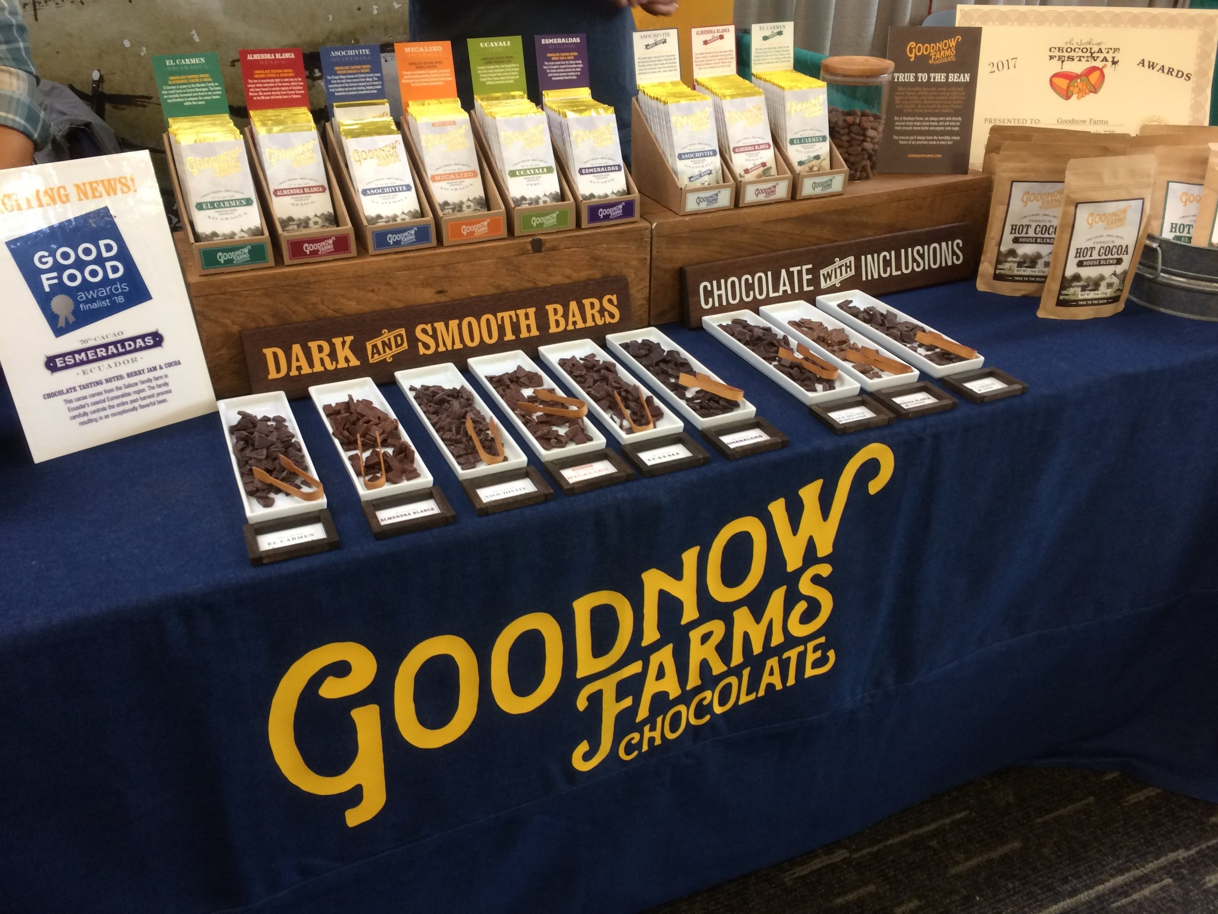 Goodnow Farms display at the Northwest Chocolate Festival, November 2017. (Photo by S. Sketchley)