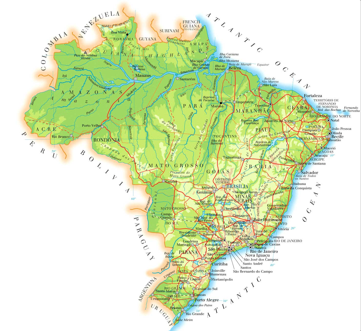 Topographic map of Brazil highlighting major rivers and forest cover.  Image by Kmusser - Own work using Digital Chart of the World and GTOPO data., CC BY-SA 3.0,  https://commons.wikimedia.org/w/index.php?curid=4745680