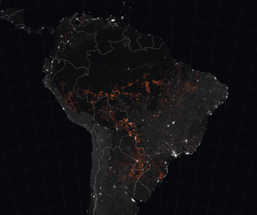 2019 Amazon Rainforest Wildfires - marked in orange - which were detected by  MODIS  from August 15 to August 22, 2019.   Image & caption from Wikipedia 2019-09-24