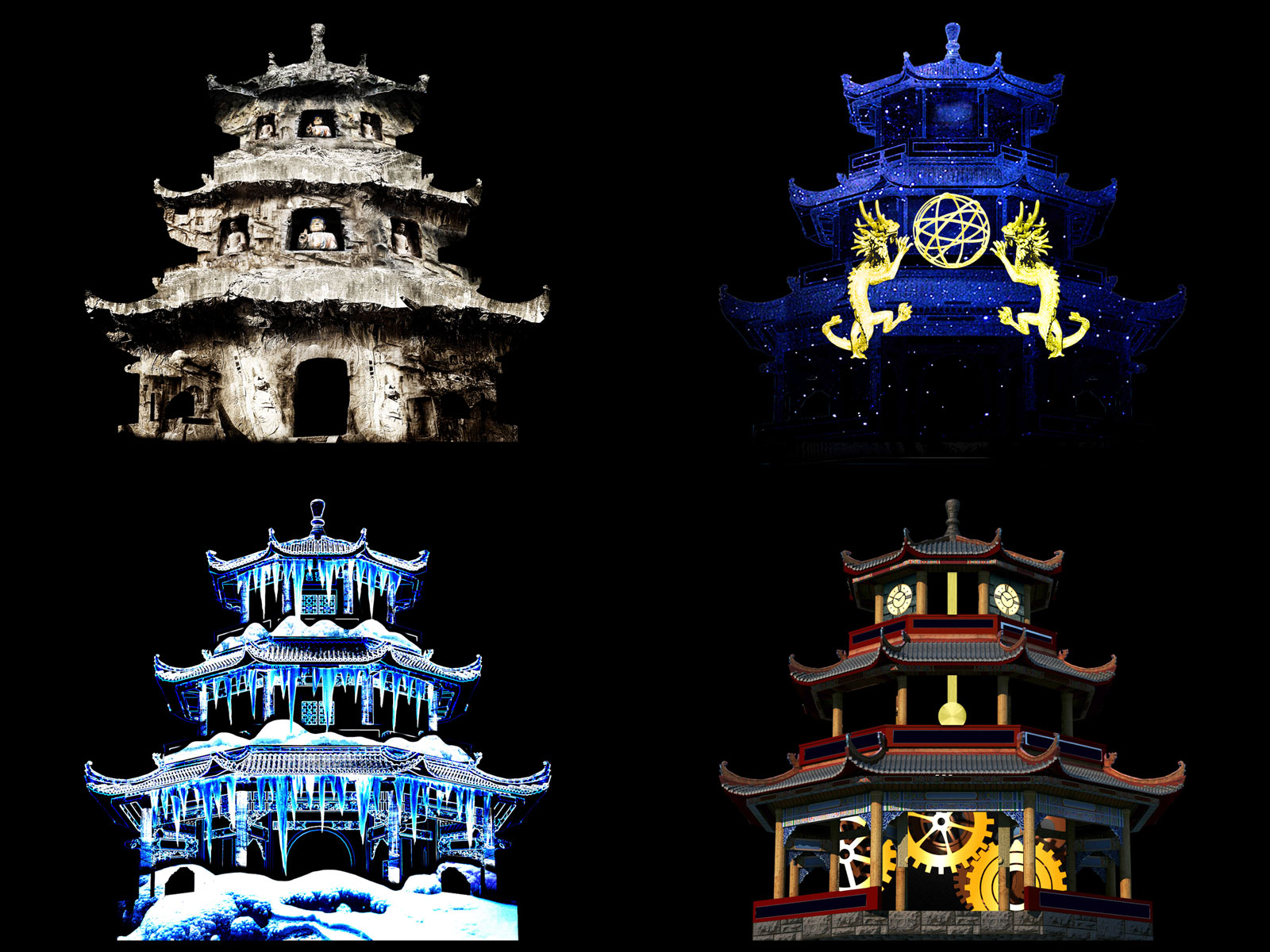 Pagoda  Image Editing, Photoshop   Winter, 2014   Some visual effects for an ancient pagoda projection mappingproject
