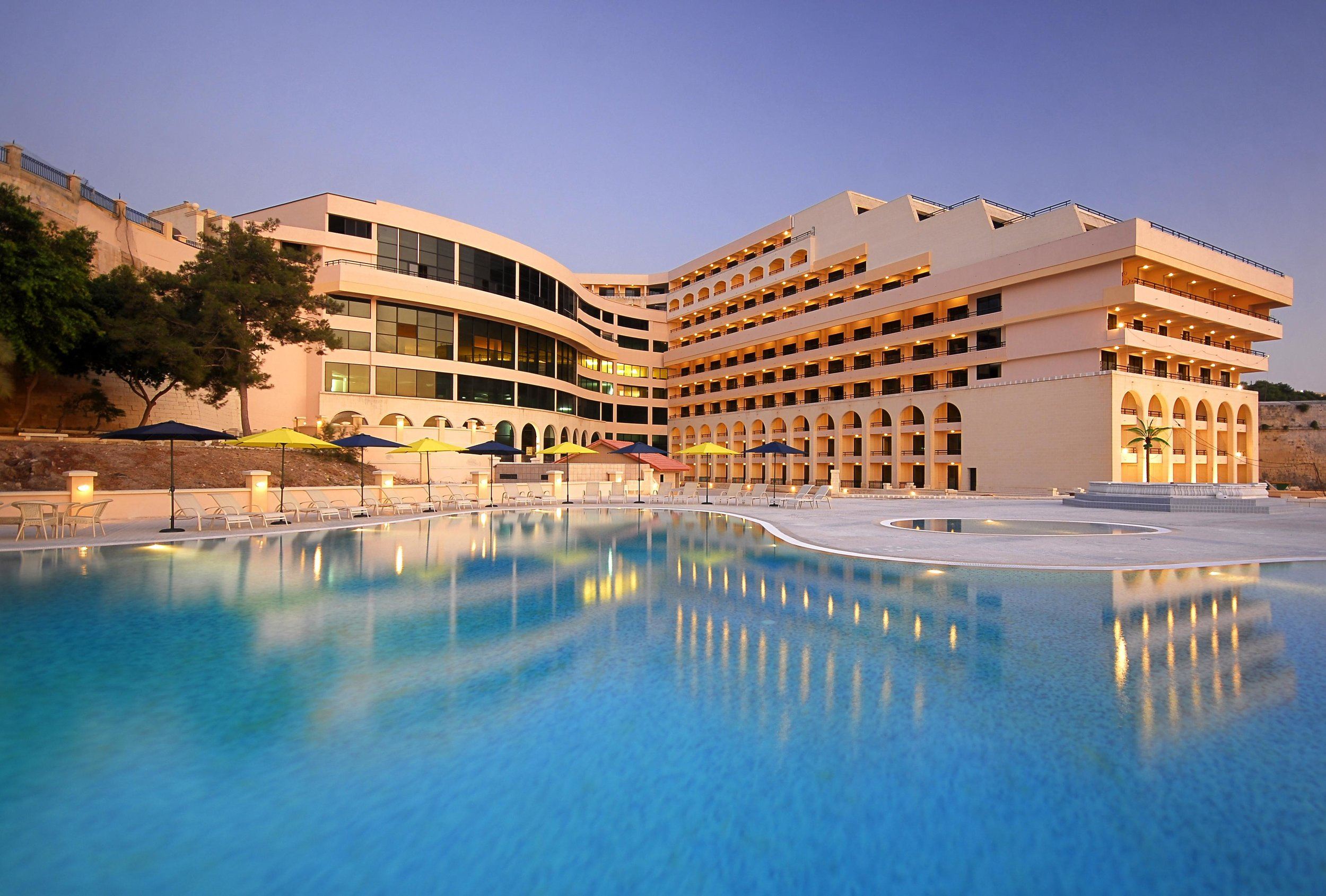 Grand Hotel Excelsior Facade + Pool View (Evening).JPG