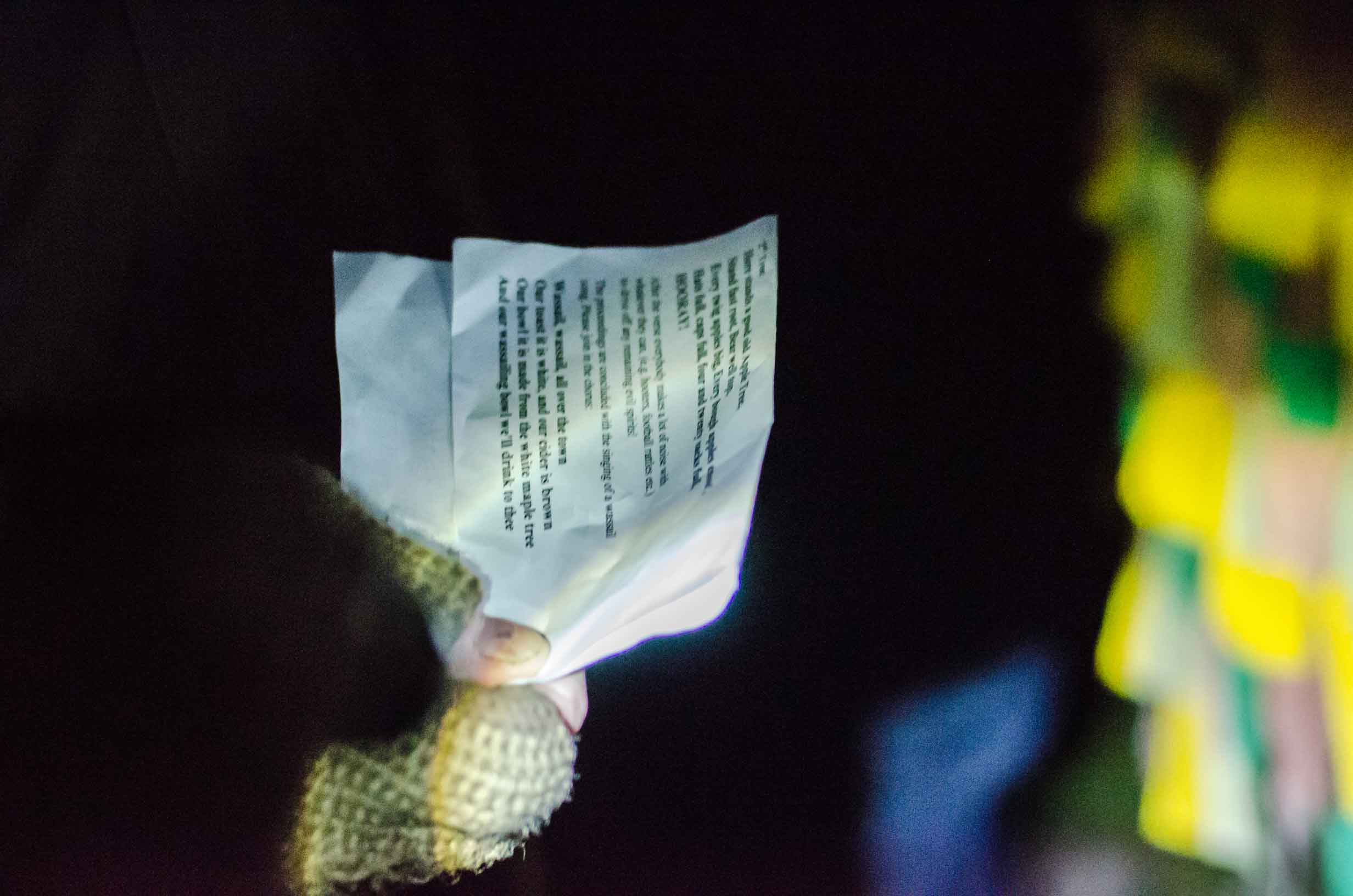 Lyrics by torchlight: singing the Wassailing song.