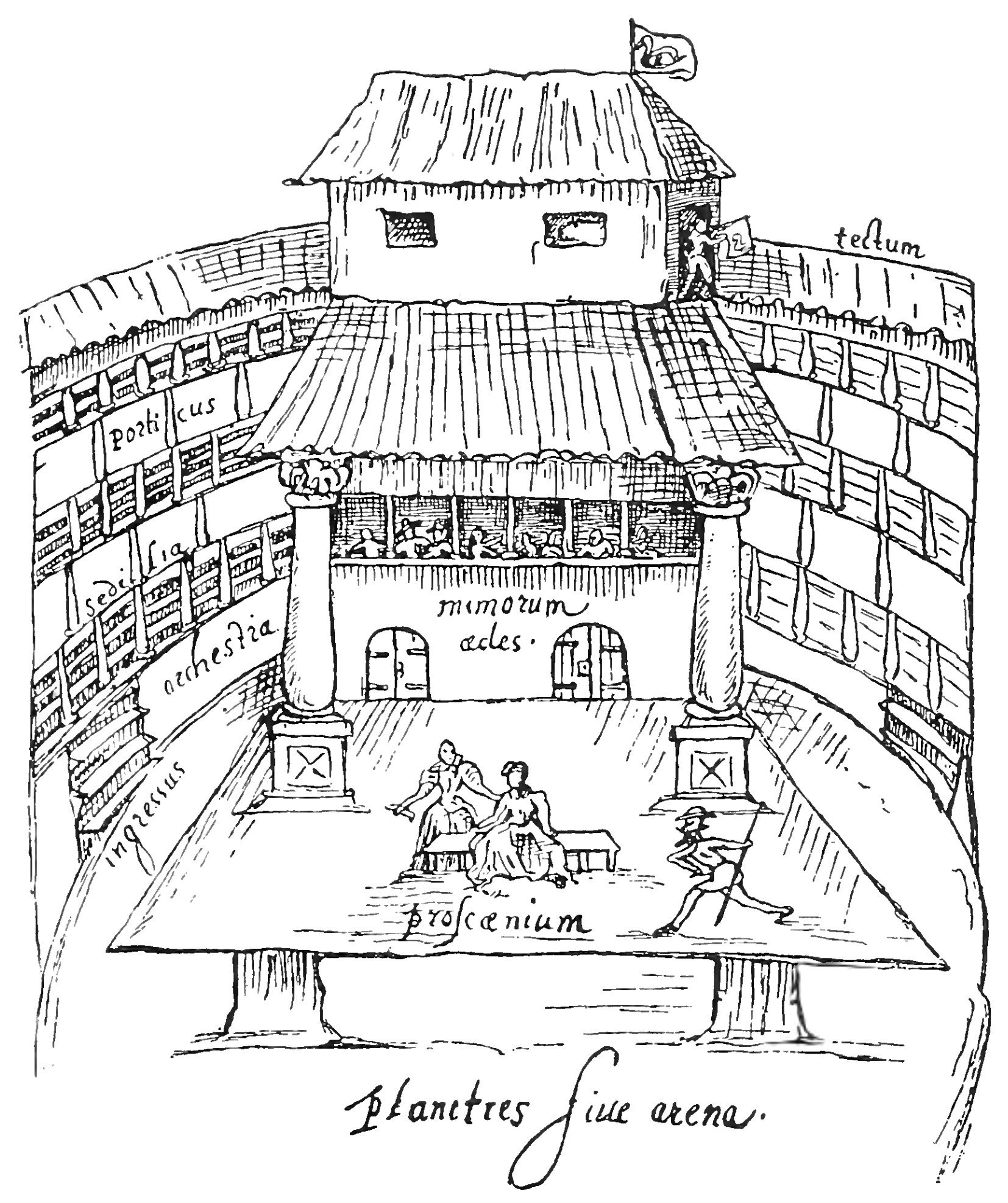 Image of the Swan Theatre in Shakespeare's London.