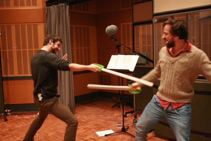 Throwback to ABC RN's radio production of Hamlet, sword-fighting in the studio, 2012.