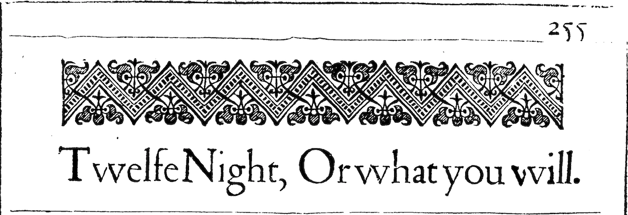 The title of Shakespeare's play in the 1623 Folio.