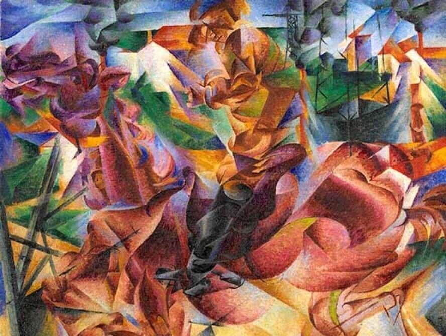 Umberto Boccioni ,  Elasticità , dopo il 1912, olio su tela, 100 x 100. Milano, Museo del Novecento, Collezione Jucker