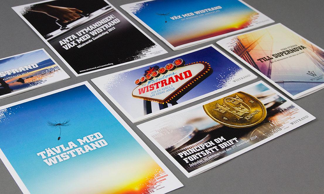 Ett axplock av alla inbjudningar vi producerat åt Wistrand genom åren