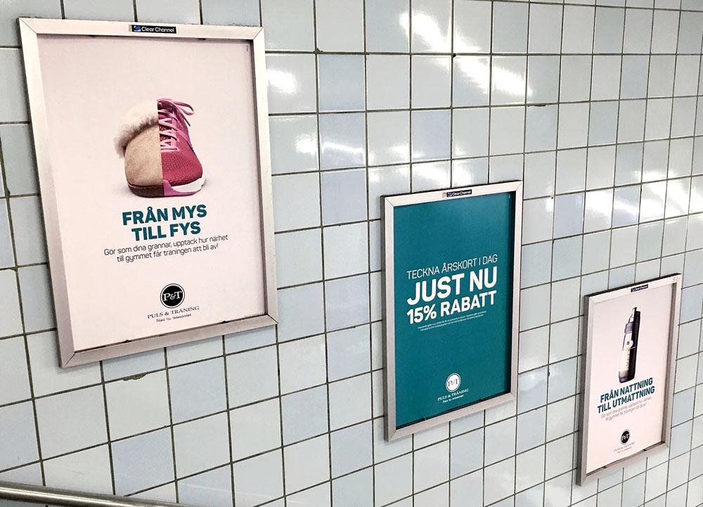 Puls & Träning, kampanjen som rulltrappsskyltar