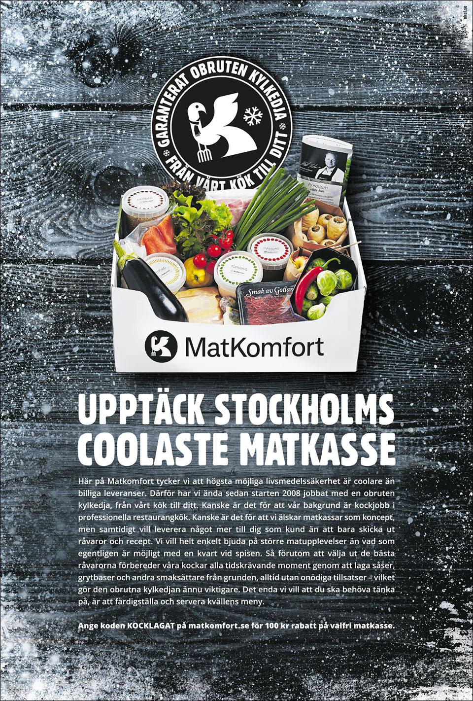 Vår nya kund Matkomfort hade en helsidesannons i Svenska Dagbladet den 6 november 2016