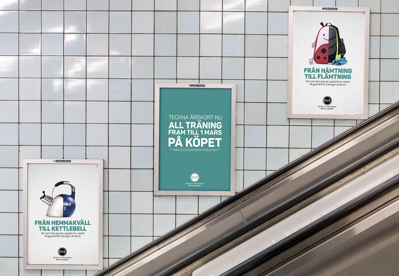 Puls & Tränings januarikampanj som rulltrappsskyltar i Stockholms tunnelbana