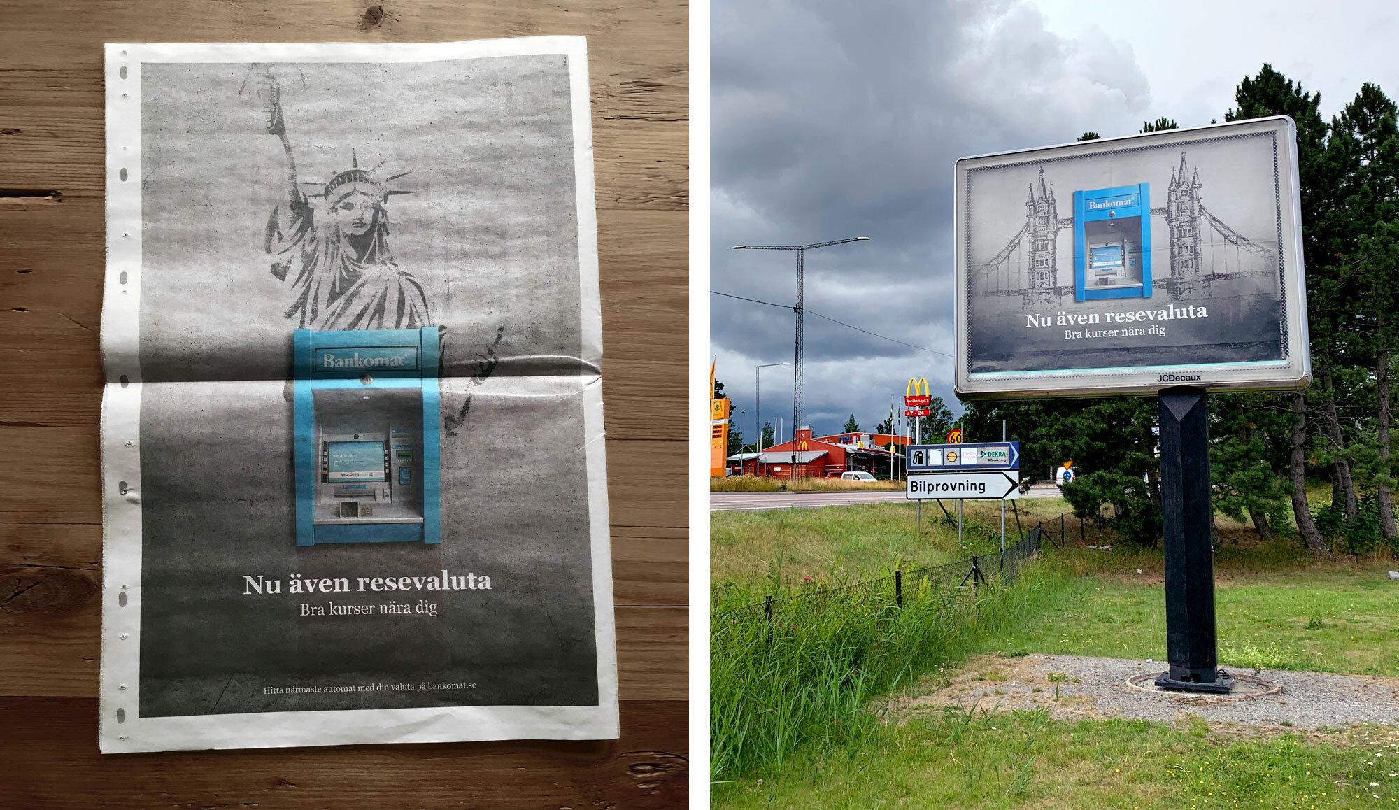 Tidningsannons och stortavla för Bankomat.