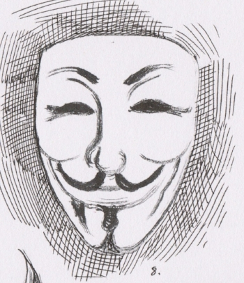 What do you see in this sketch? Do you see just a mask, or more specifically an infamous character from a well known comic book? How has this particular icon, inspired a well known internet/hacker group?