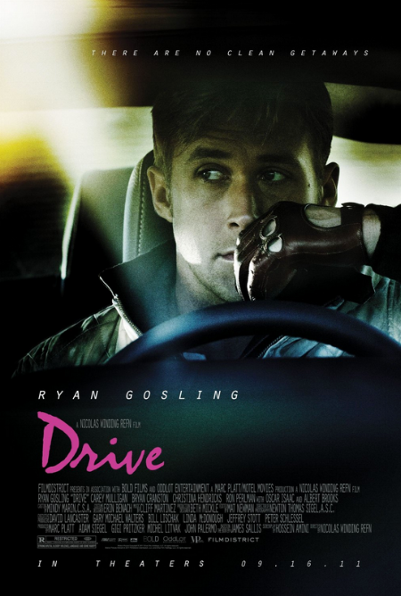Nicolas Winding Refn's  Drive . In this poster there is a feeling of tension, and immanent action. Gosling has his eyes transfixed on something, purely focused on the job at hand. The typography from Drive and Kavinsky's  Outrun  do share some similarities regarding the design. The poster evokes a type of broodiness, within the central character – something just isn't right.