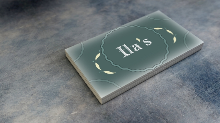 The front of Ila's contemporary (version) businness card.