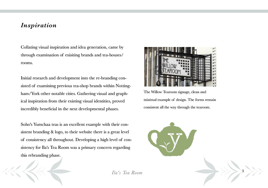 Example page from the Inspiration I collated in the beginnings of this project, from Charles Rennie Mackintosh's Willow Tearooms to the Yumchaa tea brand.