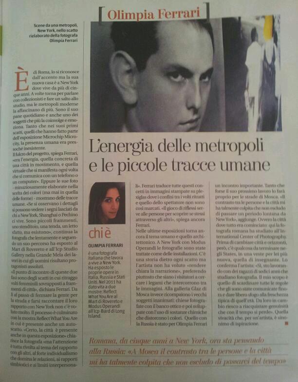 """001-Olimpia Ferrari-L'Energia delle metropoli e le piccole tracce umane, ne """"Il Corriere della Sera"""", 10.05.2012.jpg"""