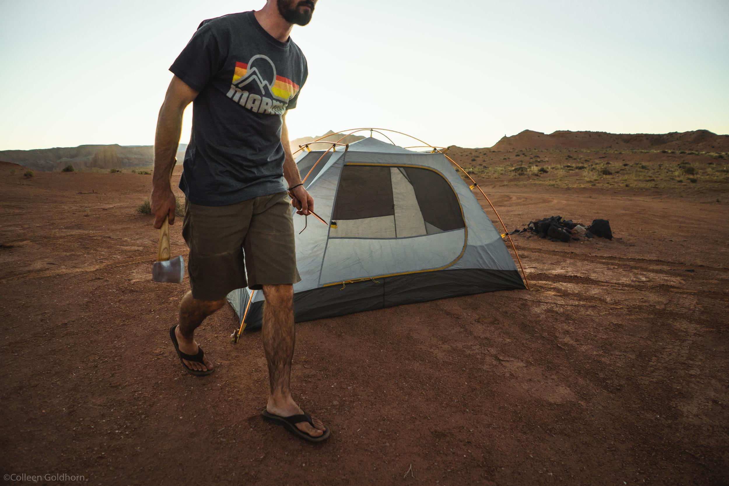 We set up camp as the sun began to set,