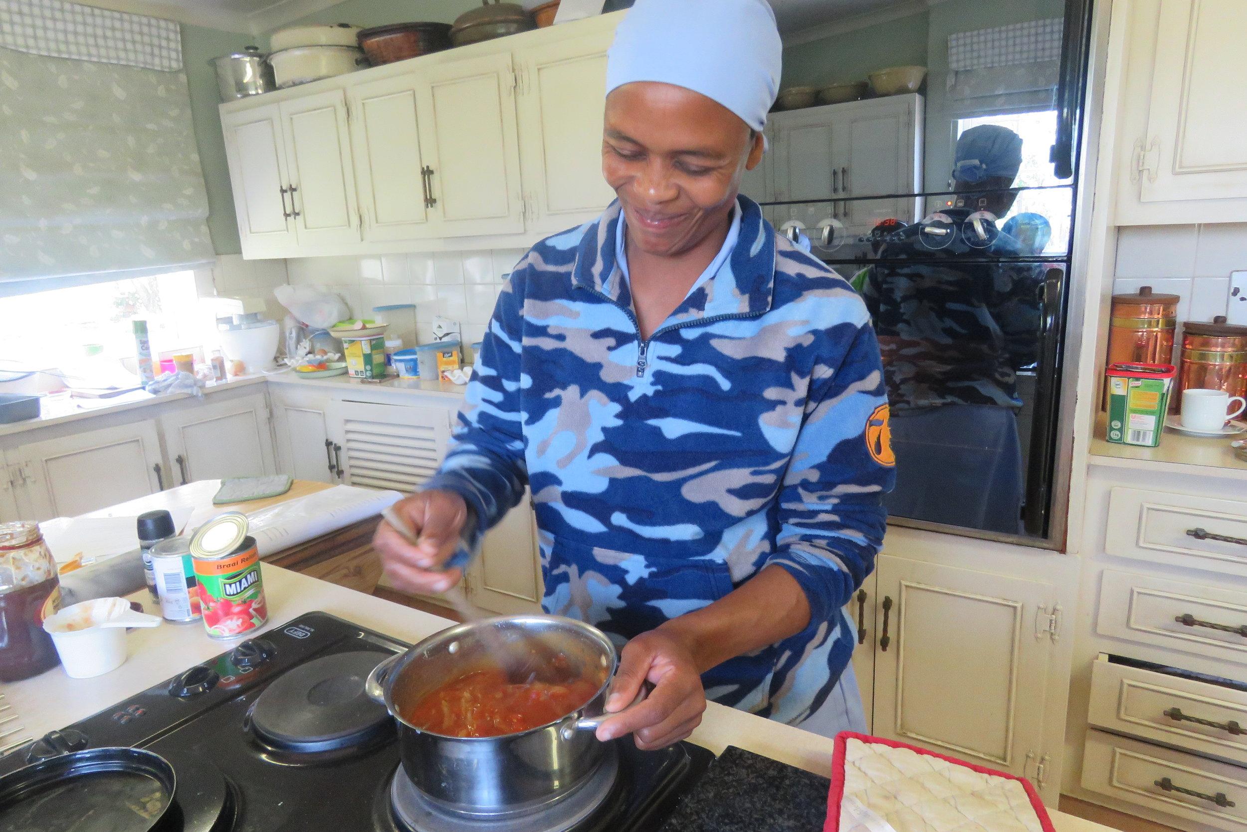 Caroline making  Chakalaka Braai Sauce.JPG
