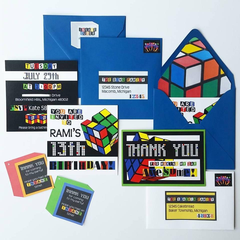 Custom Rubik's Cube Birthday Invitation Suite