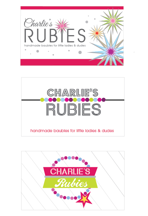 Design drafts for Charlie's Rubies, kids jewelry