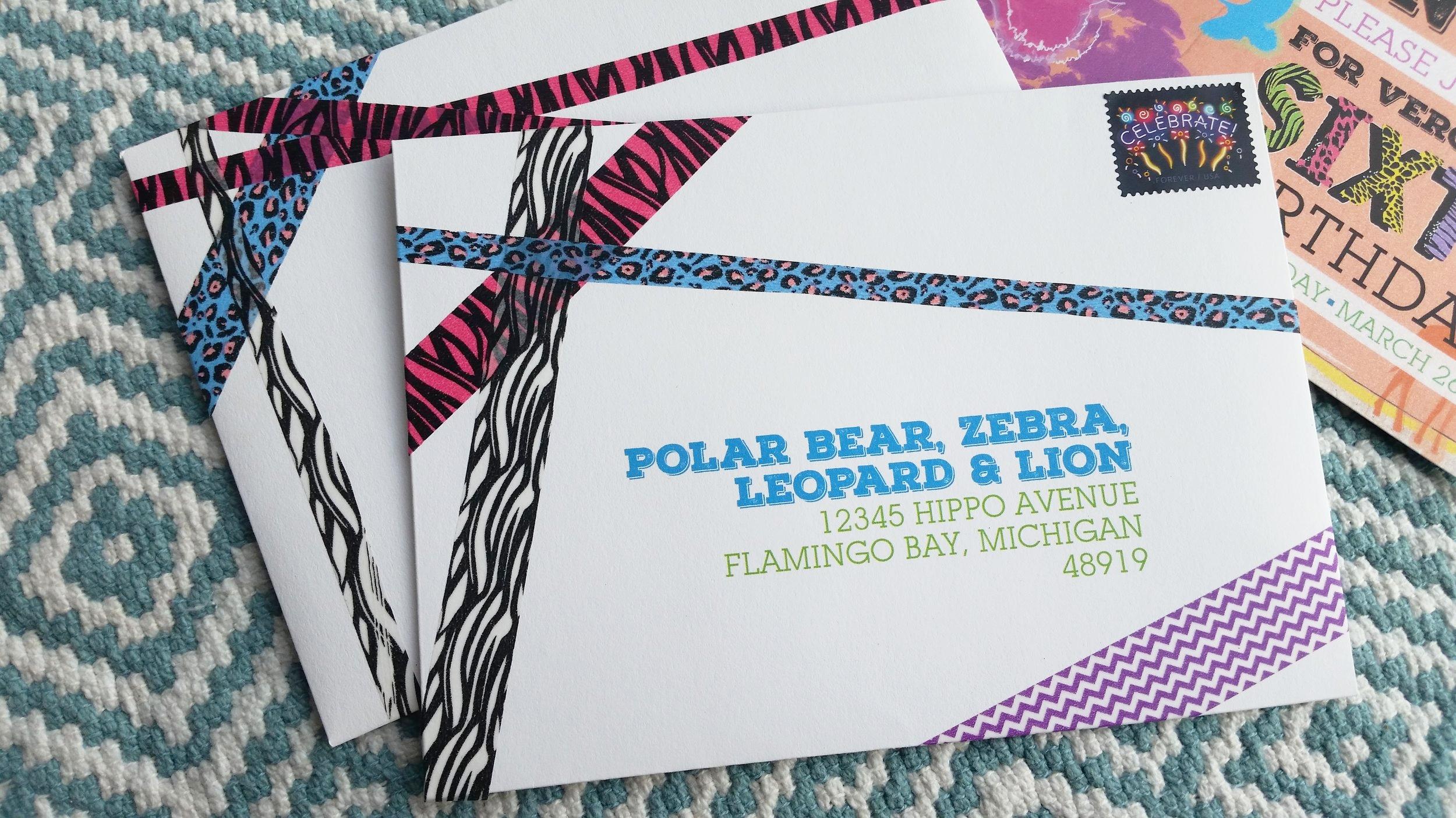 Custom Washi Tape Embellishment & Printed Mailing Addresses