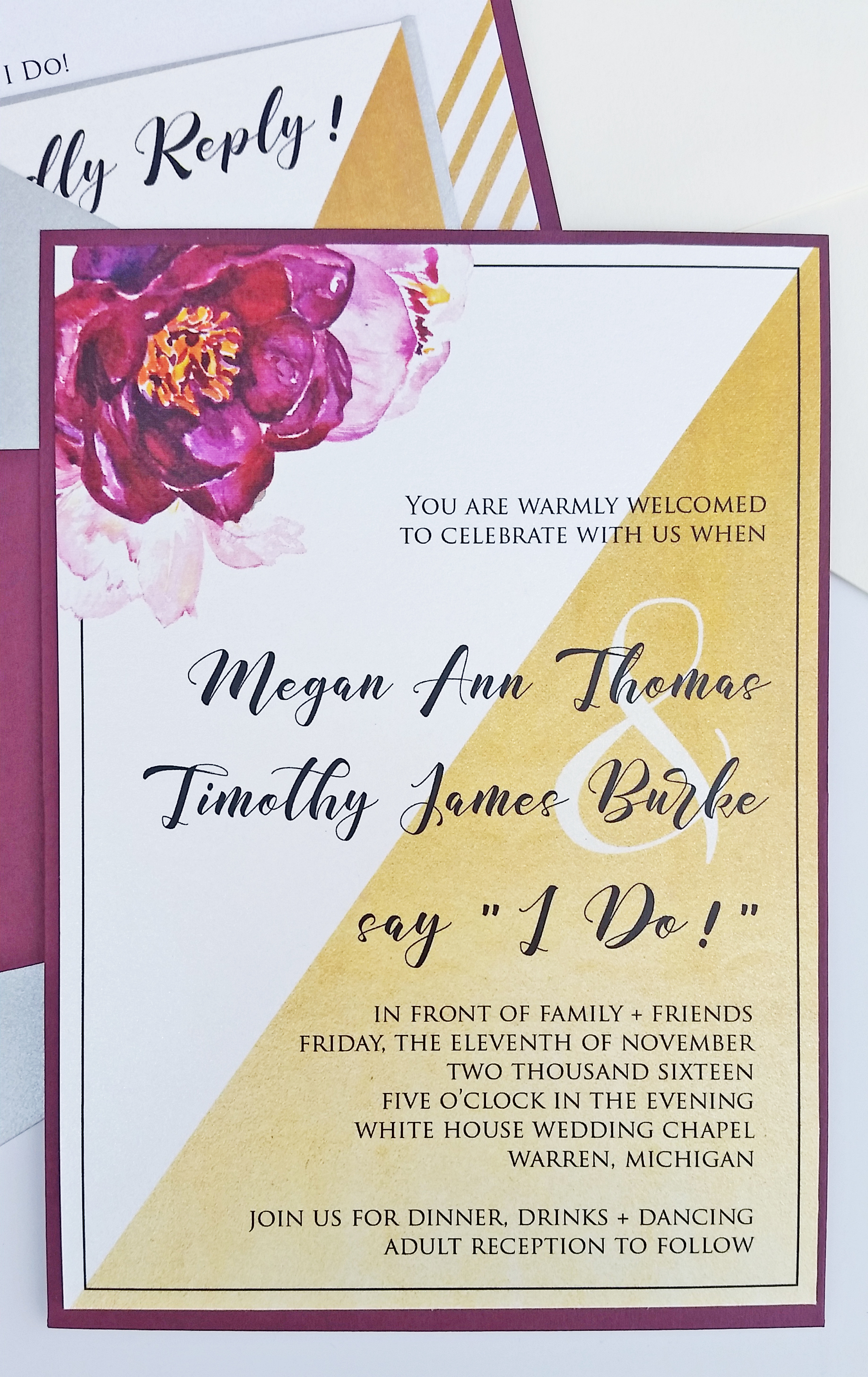 Gold & Burgundy Watercolor Floral Panel Pocket Wedding Invitation