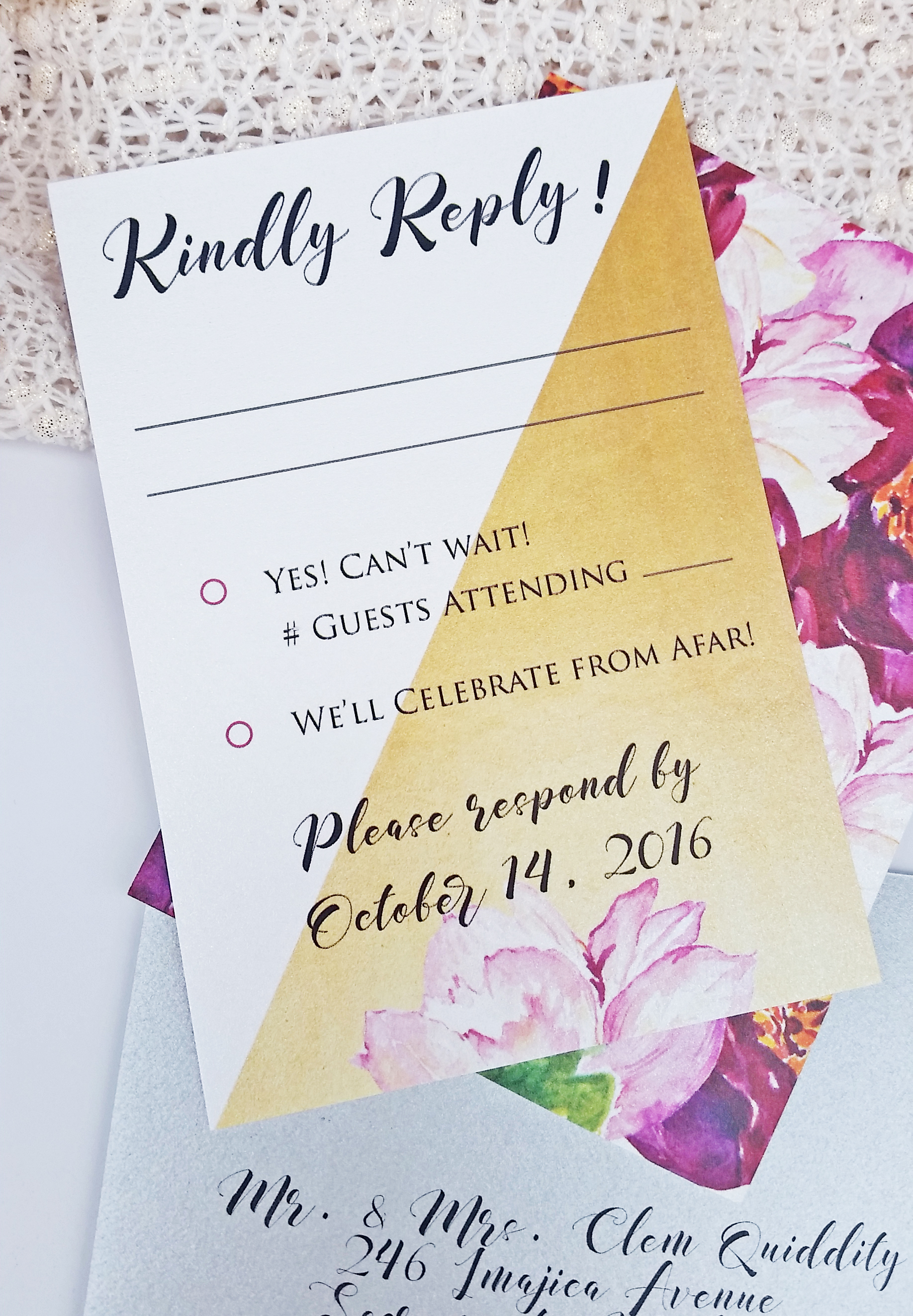 Gold & Burgundy Watercolor Floral Panel Pocket Wedding Invitation, Kindly Reply RSVP Set
