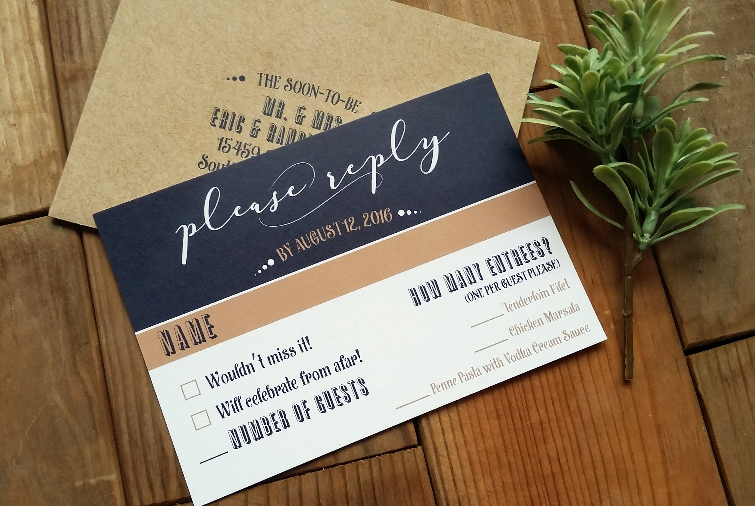 Navy Blue & Kraft Brown 'Mr. & Mrs.' Panel Pocket Wedding Invitation, RSVP Card & Kraft Envelope