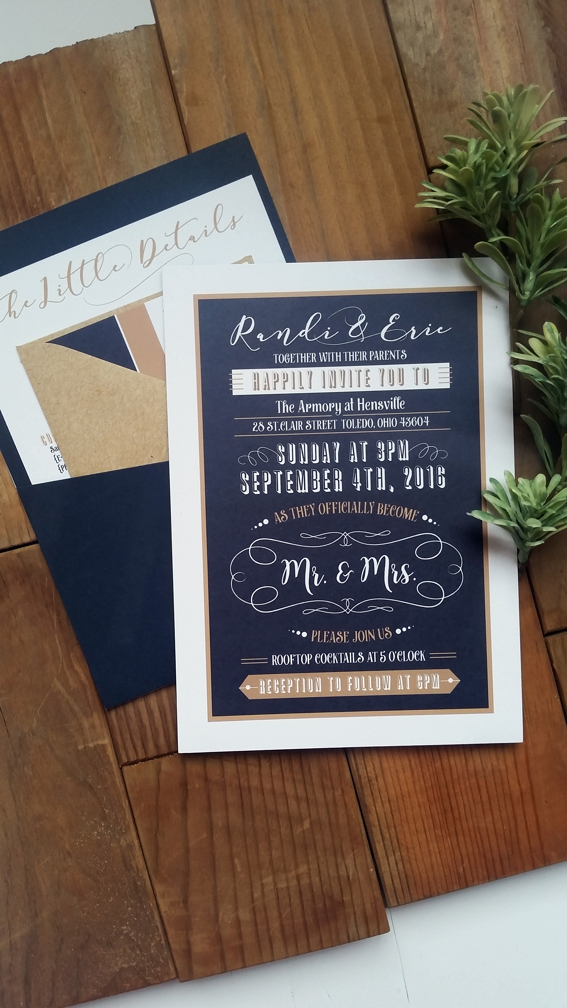 Navy Blue & Kraft Brown 'Mr. & Mrs.' Panel Pocket Wedding Invitation