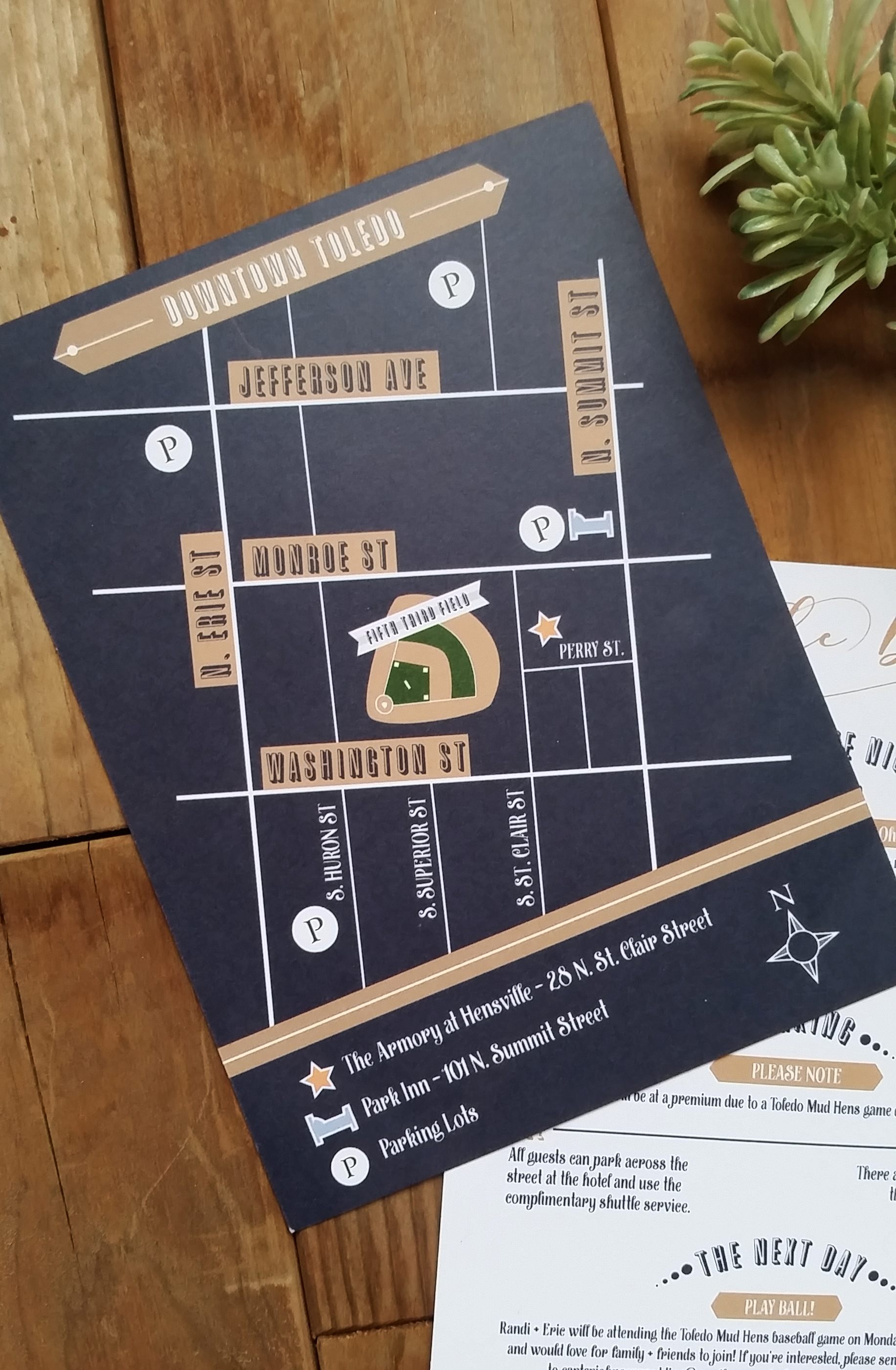 Navy Blue & Kraft Brown 'Mr. & Mrs.' Panel Pocket Wedding Invitation, Custom Map Insert with Ballpark