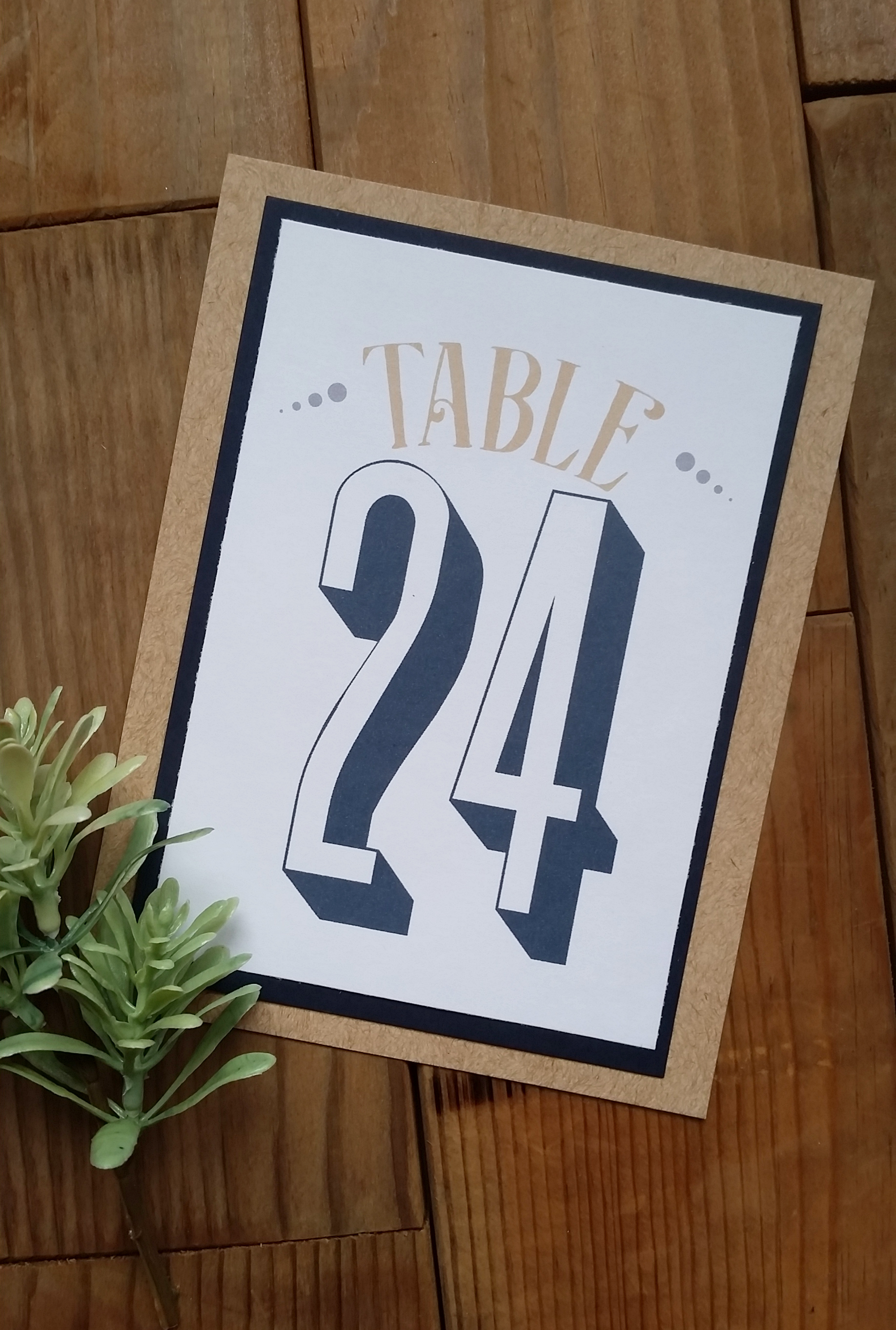 Navy Blue & Kraft Brown 'Mr. & Mrs.' Panel Pocket Wedding Invitation, Matching Table Numbers