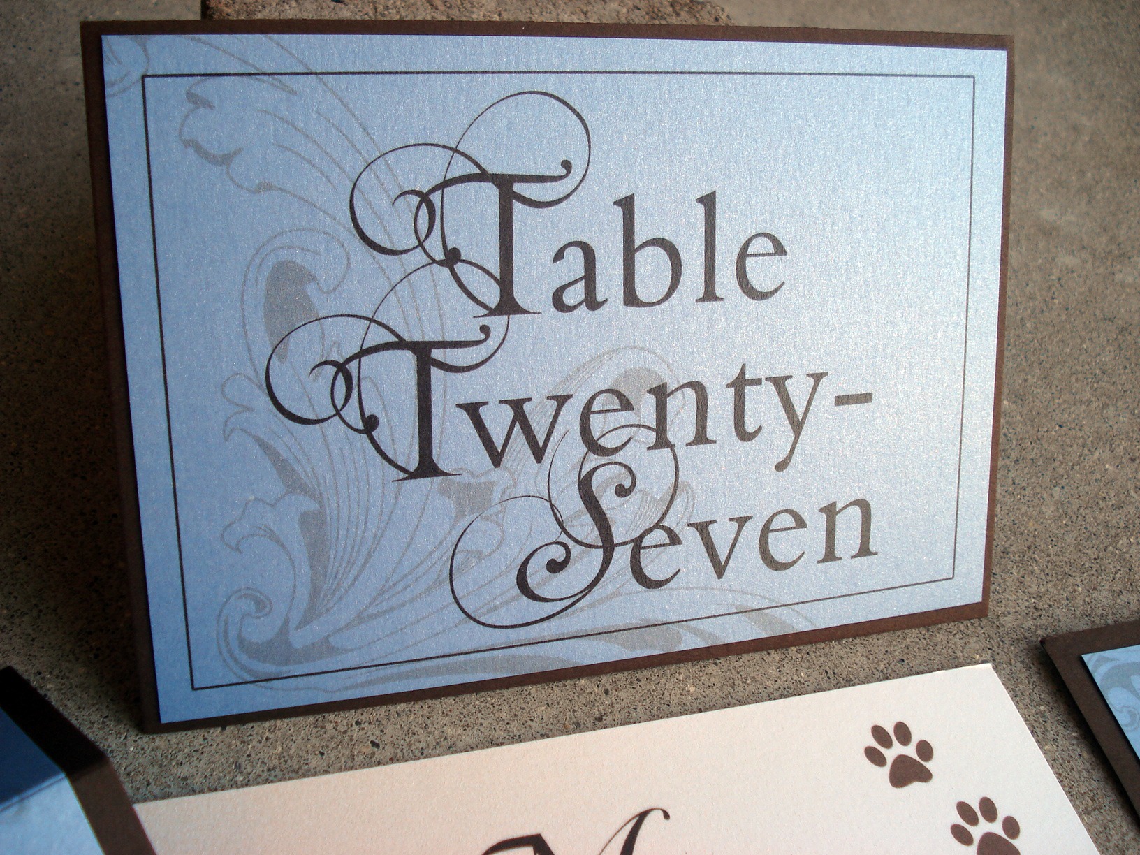 Blue, Ivory & Brown Flourish Formal Layered Reception Table Number