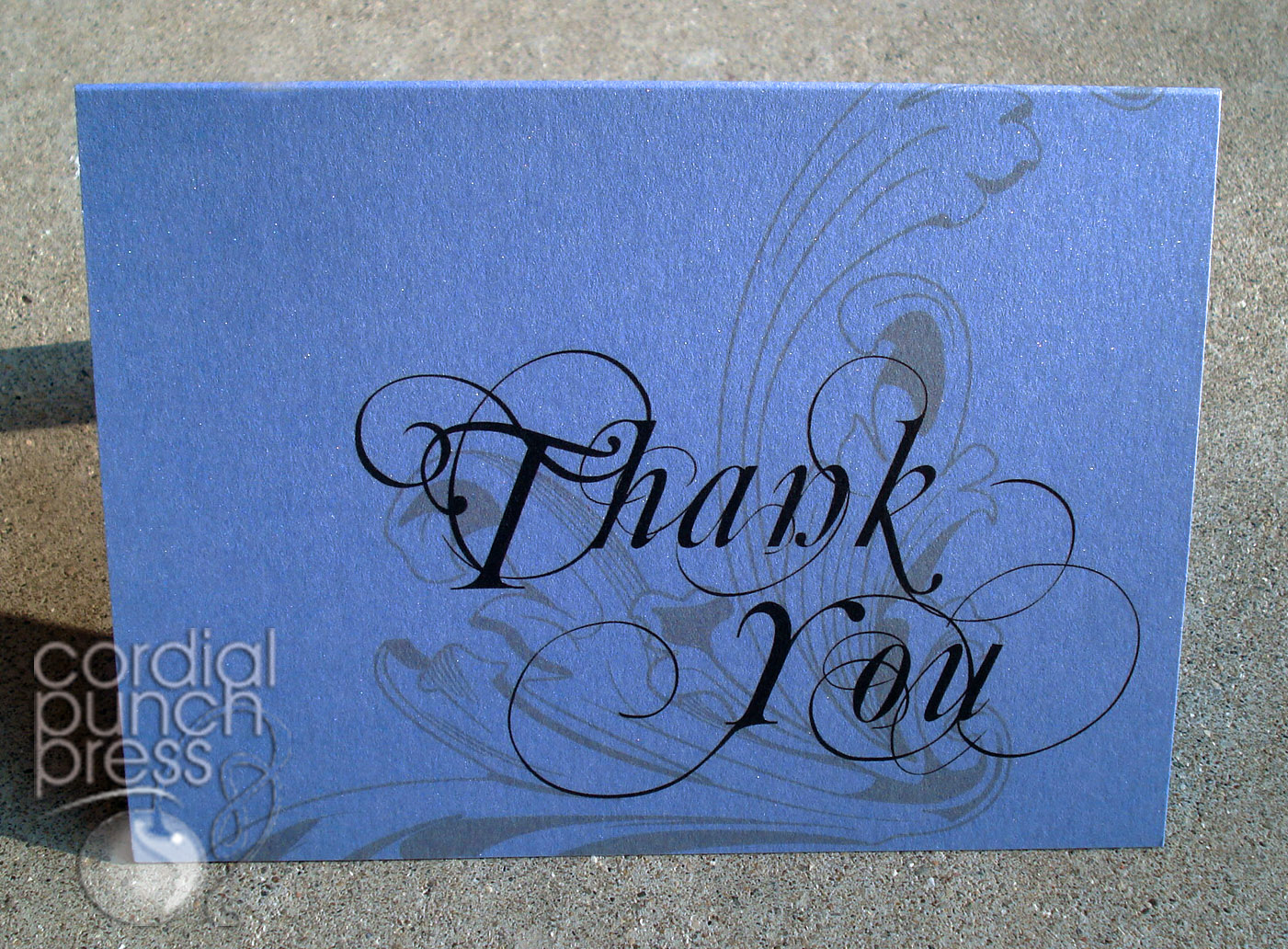Blue, Ivory & Brown Flourish Formal Thank You Cards