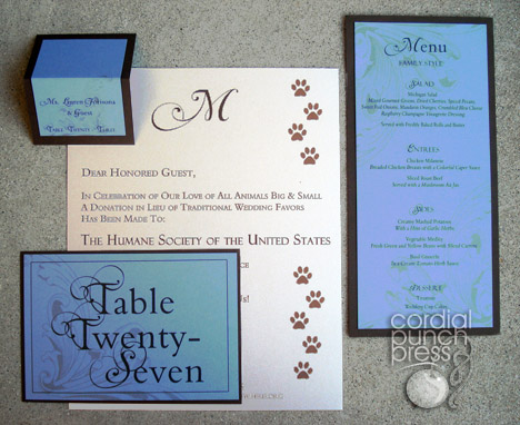 Blue, Ivory & Brown Flourish Formal Layered Reception Table Number, Menu, Place Card, In Lieu of Favors Sign