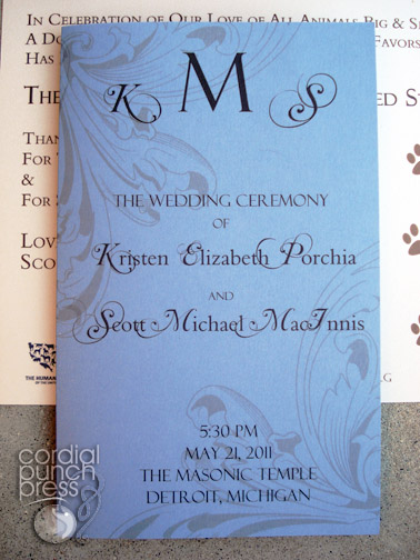 Blue, Ivory & Brown Flourish Formal Layered Ceremony Program
