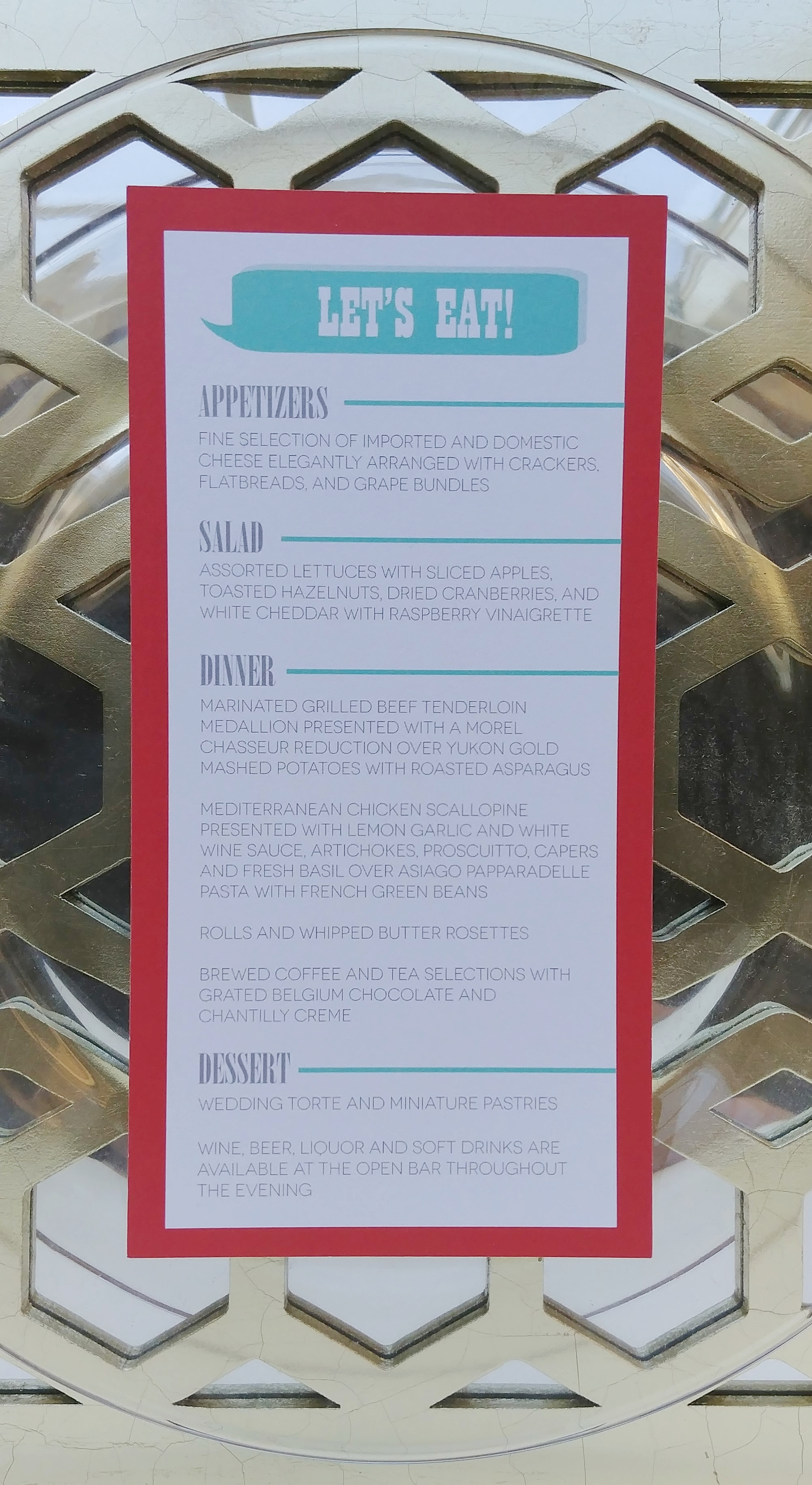 Copy of Red & Turquoise Word Bubble I Do! Reception Menus