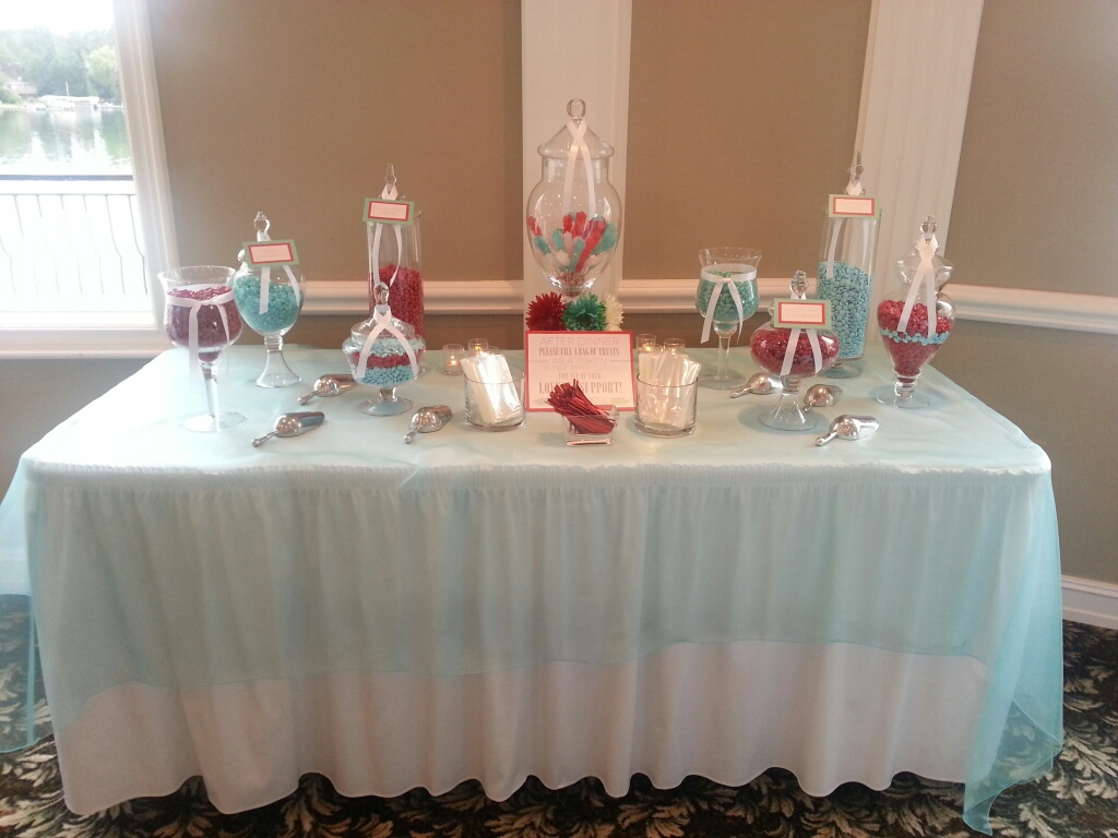 Copy of Red & Turquoise Word Bubble I Do! Candy Bar Dessert Buffet