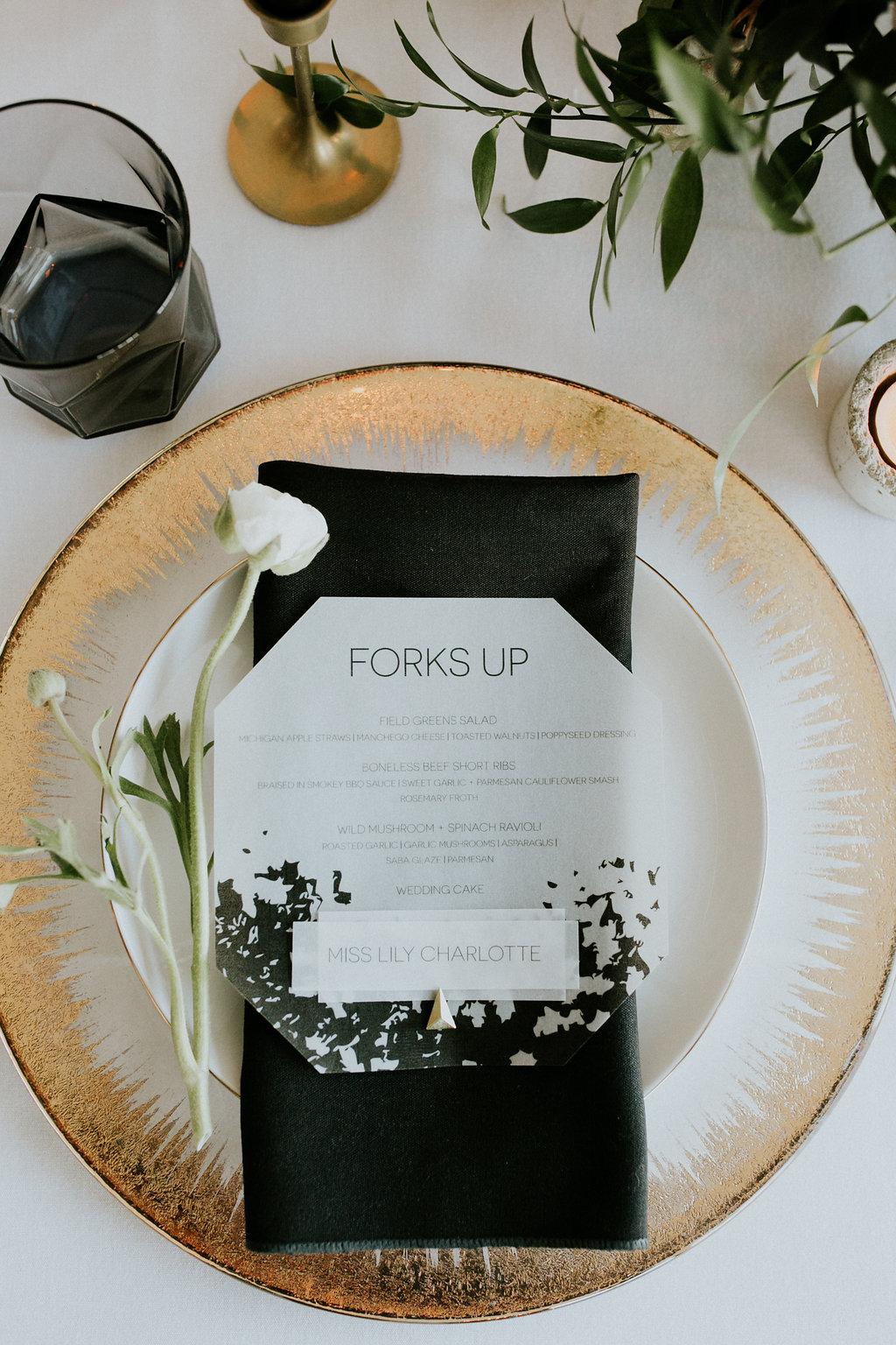 Vellum Wedding Menu & Place Card by Cordial Punch Press