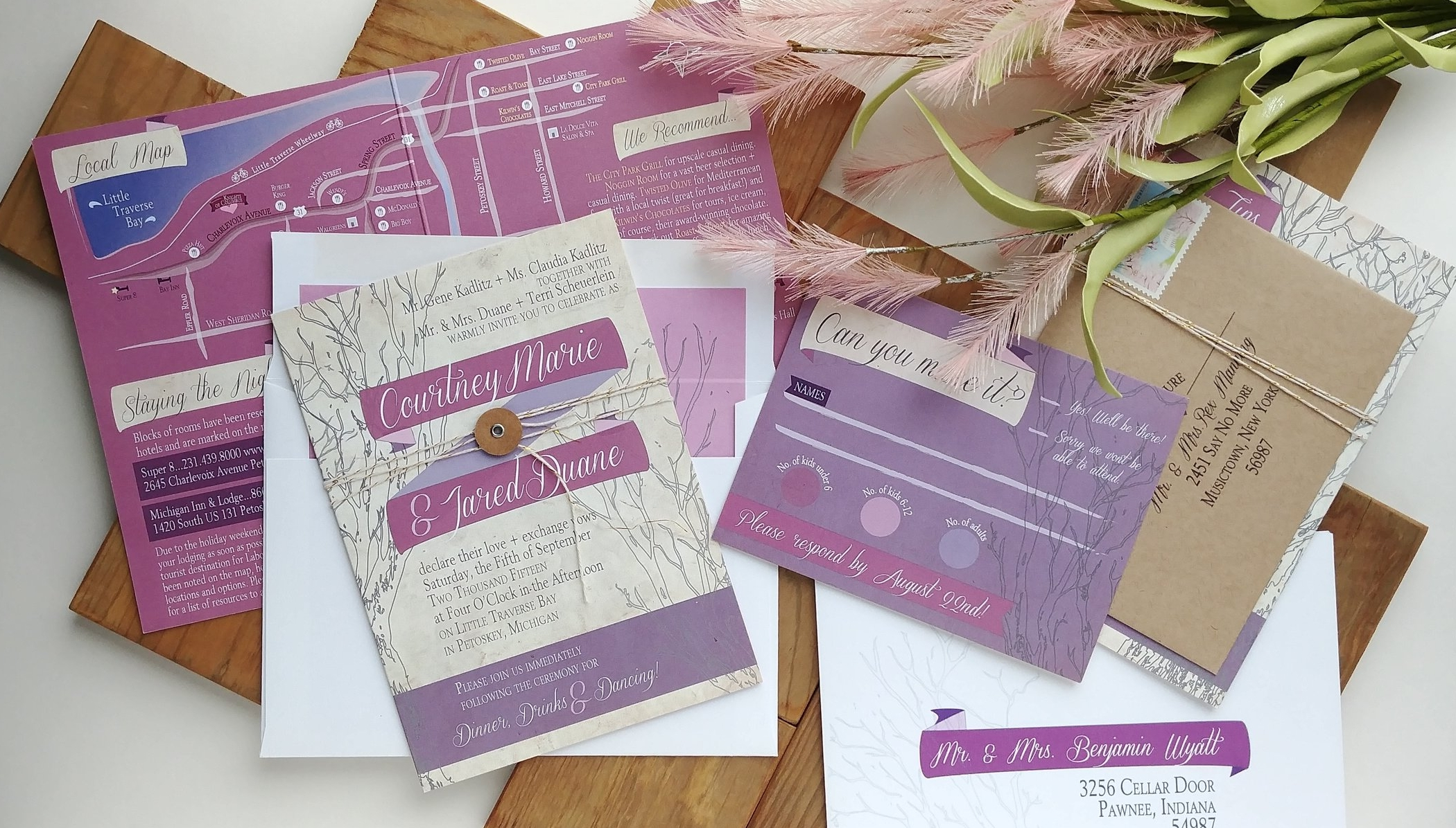 Purple Rustic Outdoor Wedding Booklet Invitation by Cordial Punch Press