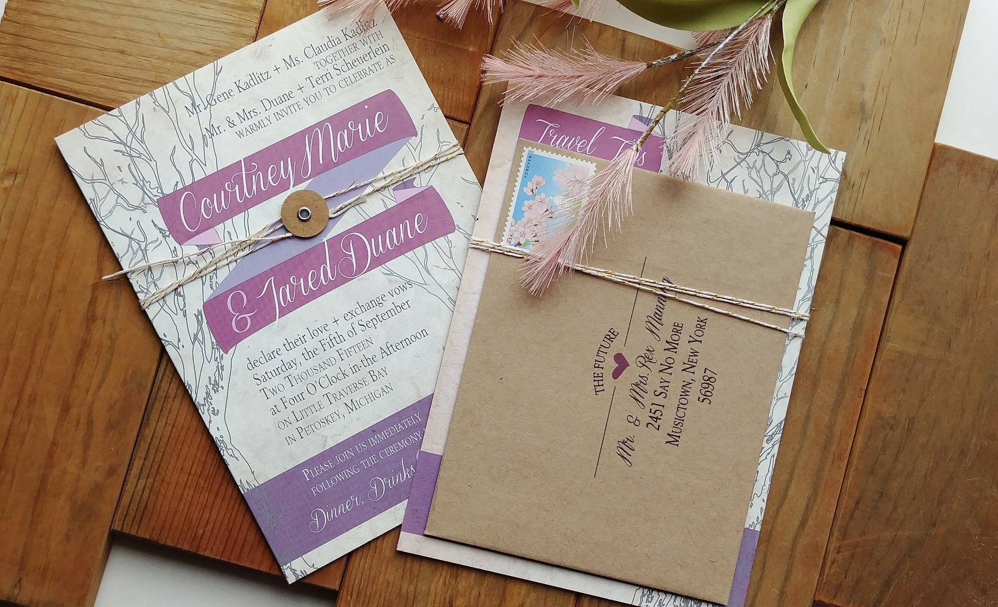 Rustic Outdoor Wedding Invitation by Cordial Punch Press