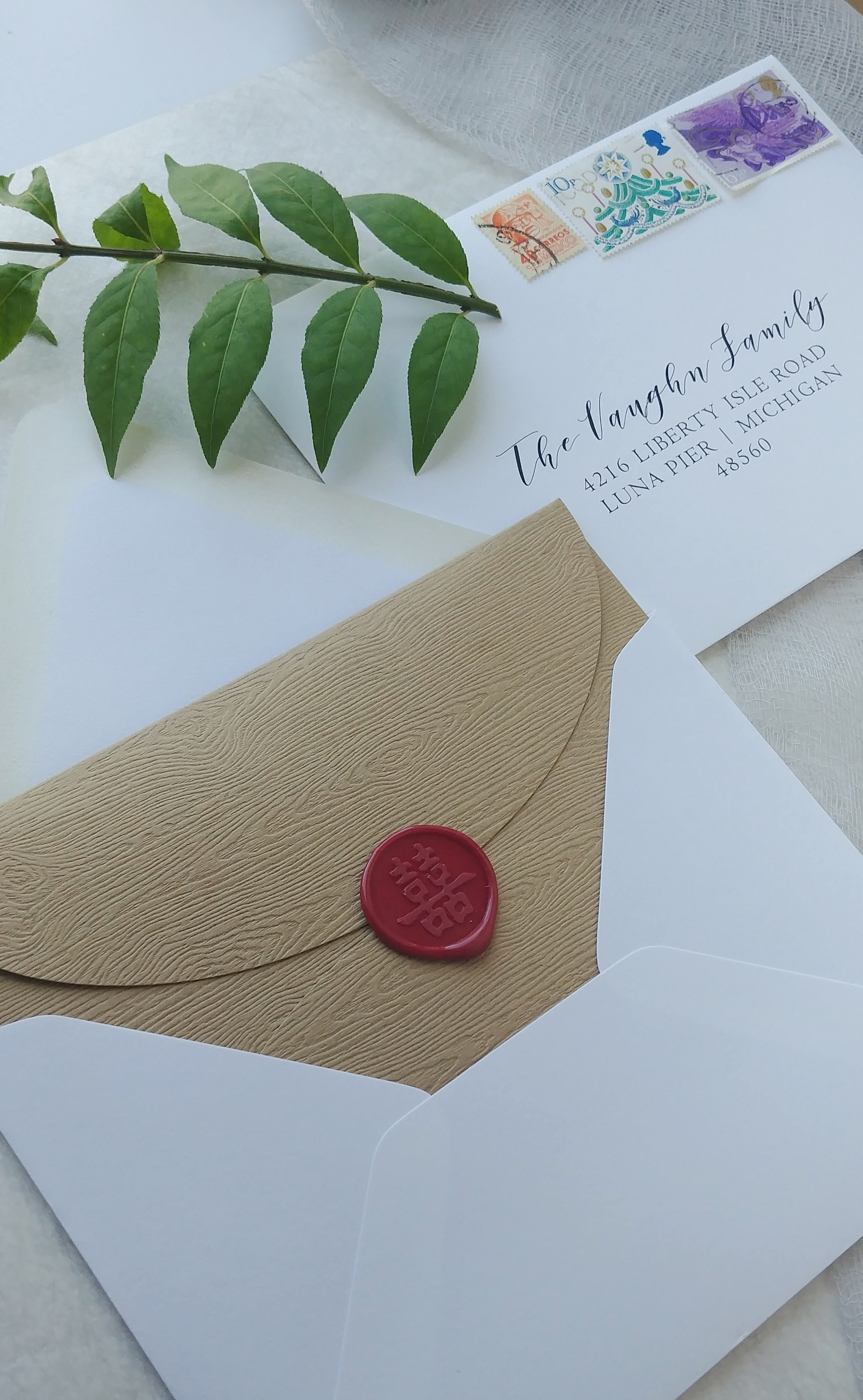 Wood Grain Petal Fold with Red Wax Seal & Envelope Addressing by Cordial Punch Press