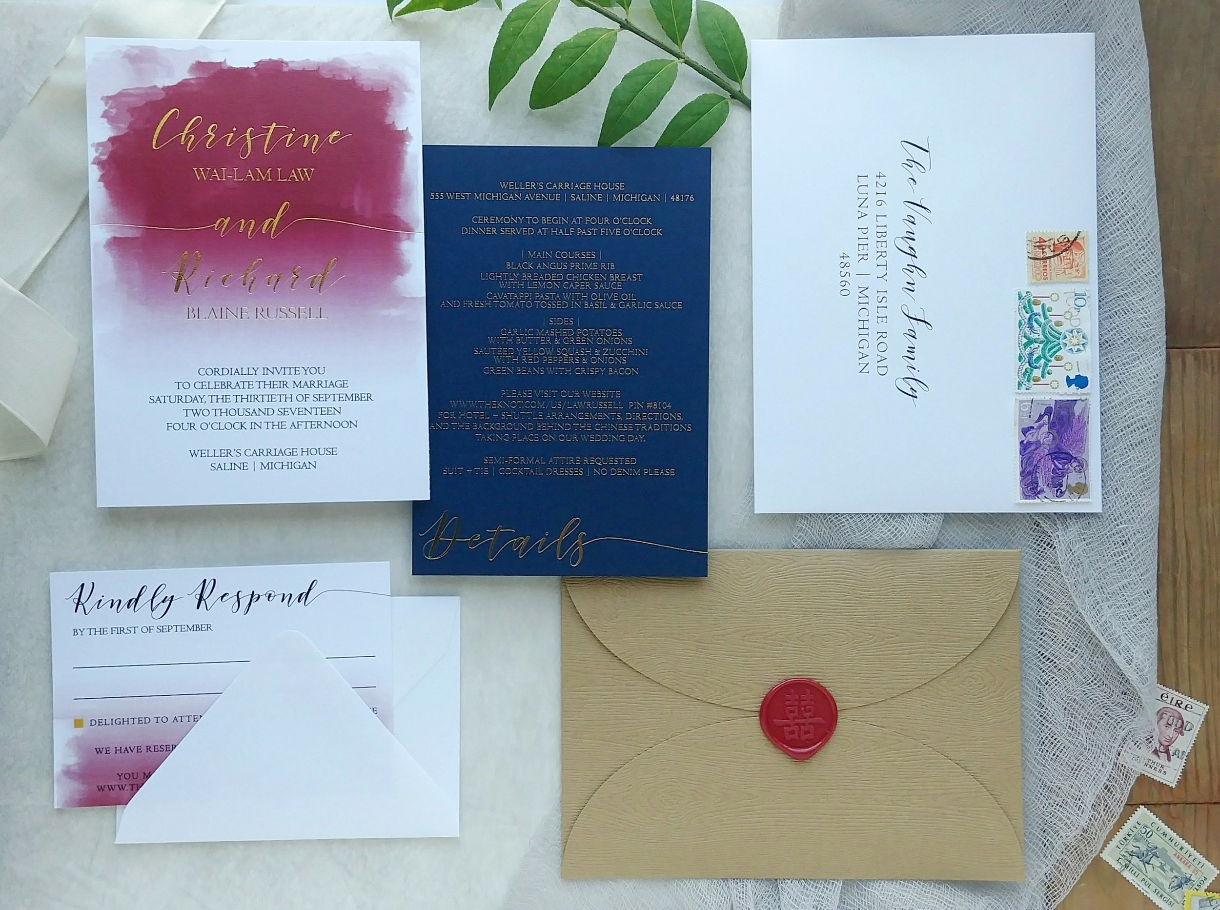 Burgundy Watercolor & Gold Foil Wedding Invitation Suite with Wood Grain Petal Fold by Cordial Punch Press