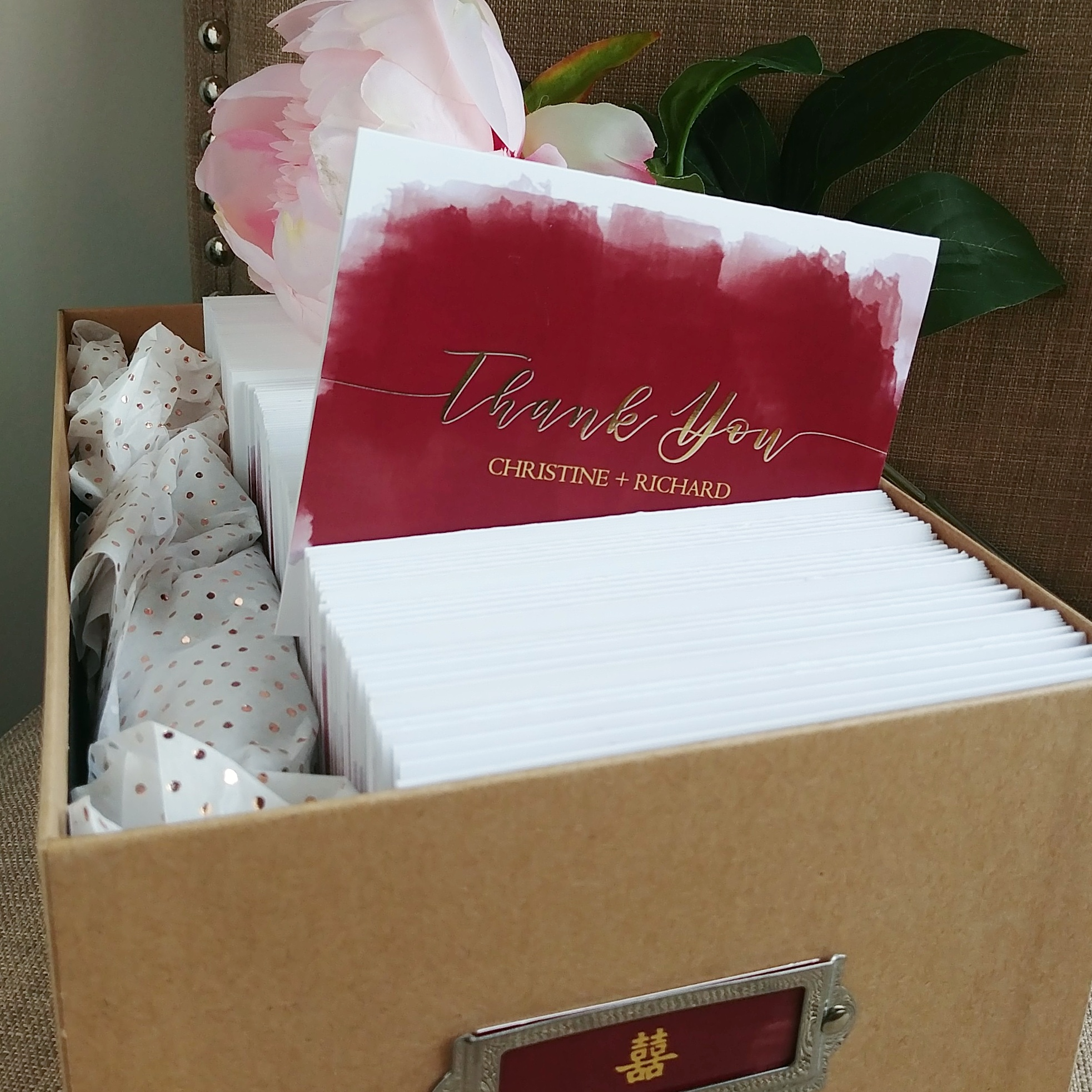Burgundy Watercolor Gold Foil Wedding Thank You Cards by Cordial Punch Press
