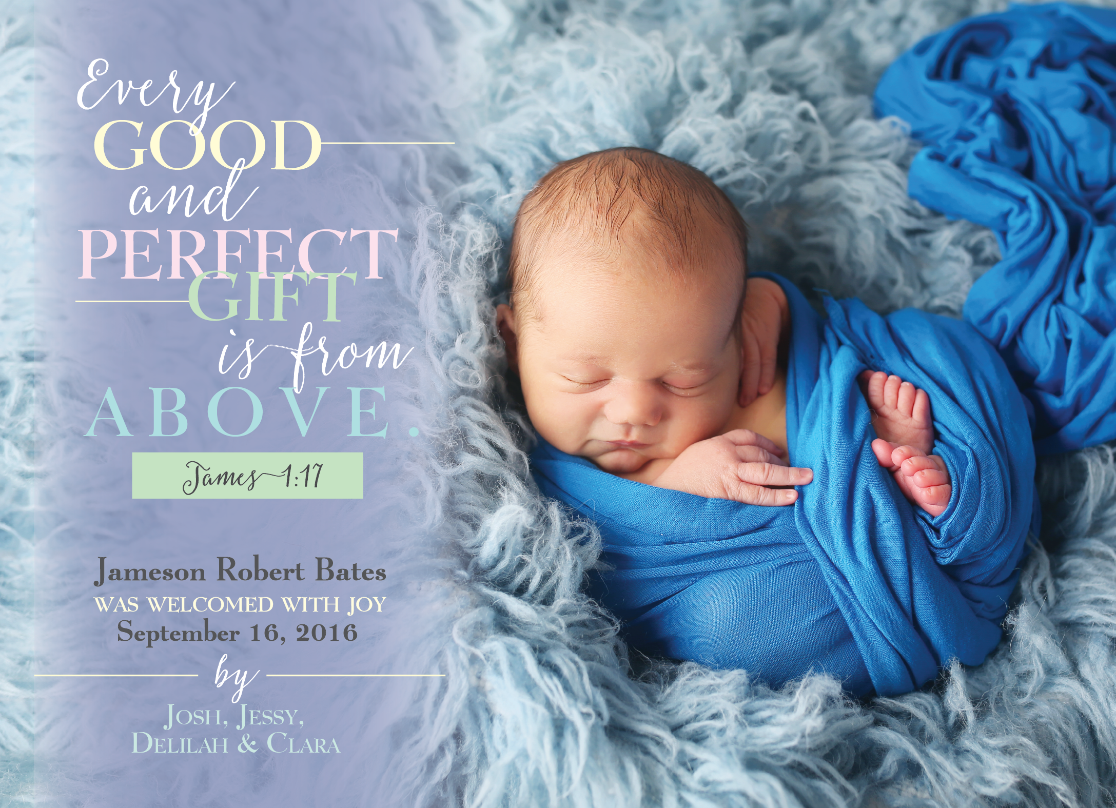 Every Good and Perfect Gift, Birth Announcement