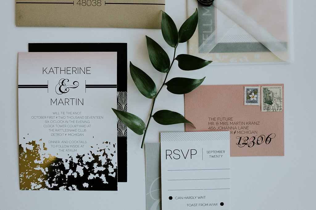 Gold Foil & Pink Ombre Wedding Invitation Suite
