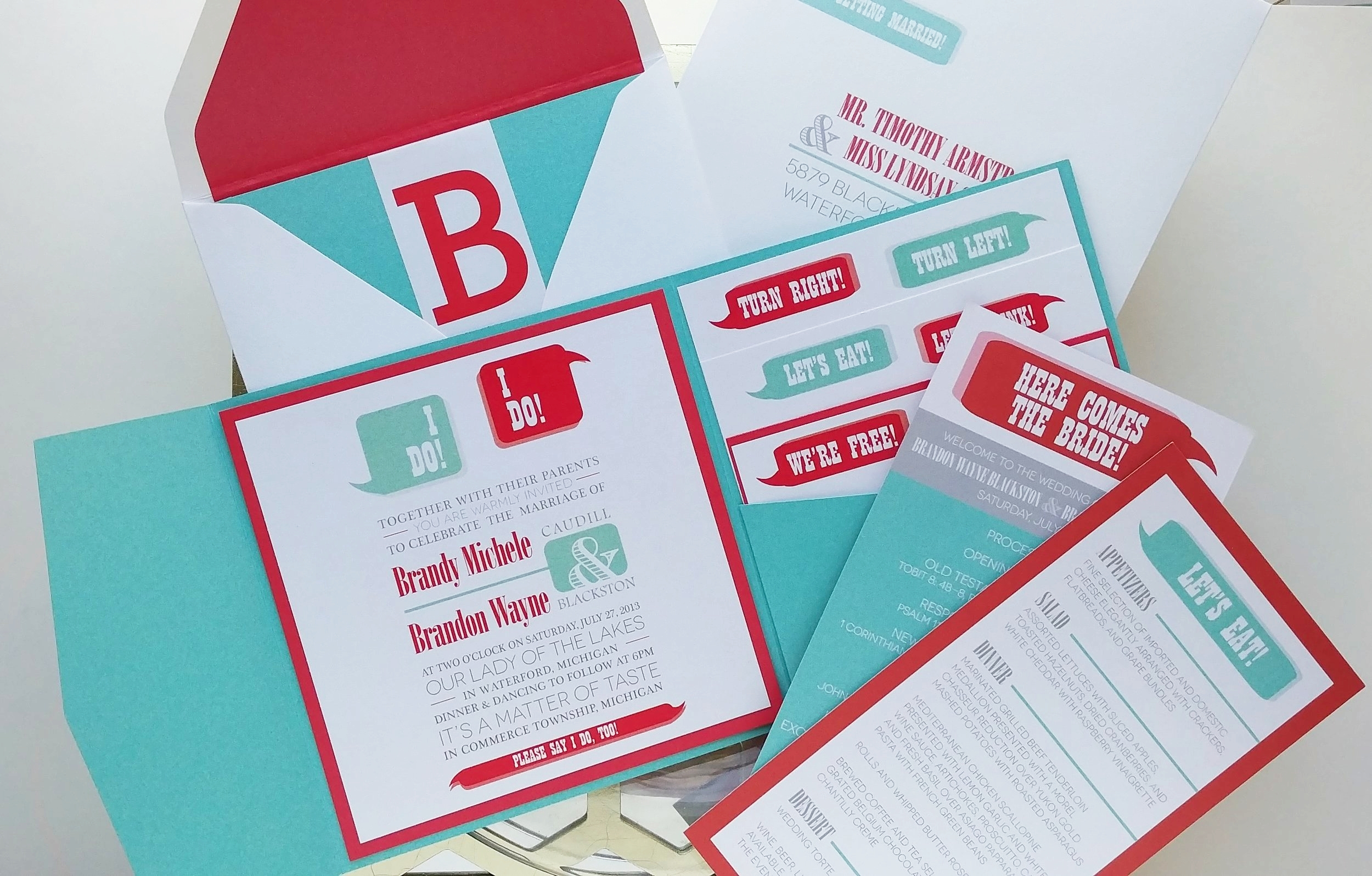 Red & Turquoise Word Bubble Pocket Invitation Suite