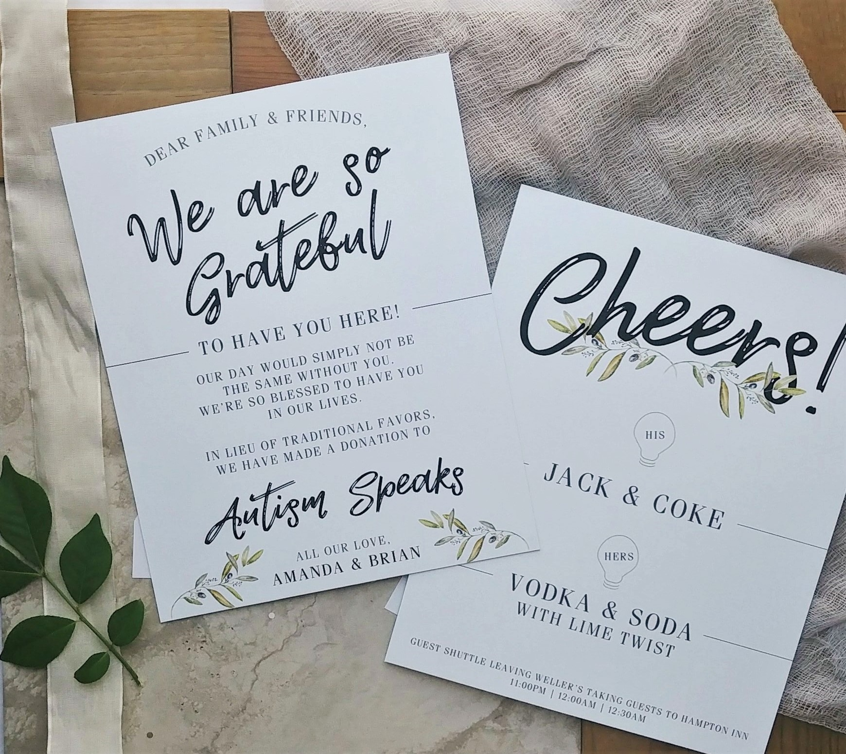 Cordial Punch Press Fresh Minimal Greenery Booklet Wedding Invitation with Reception Signage