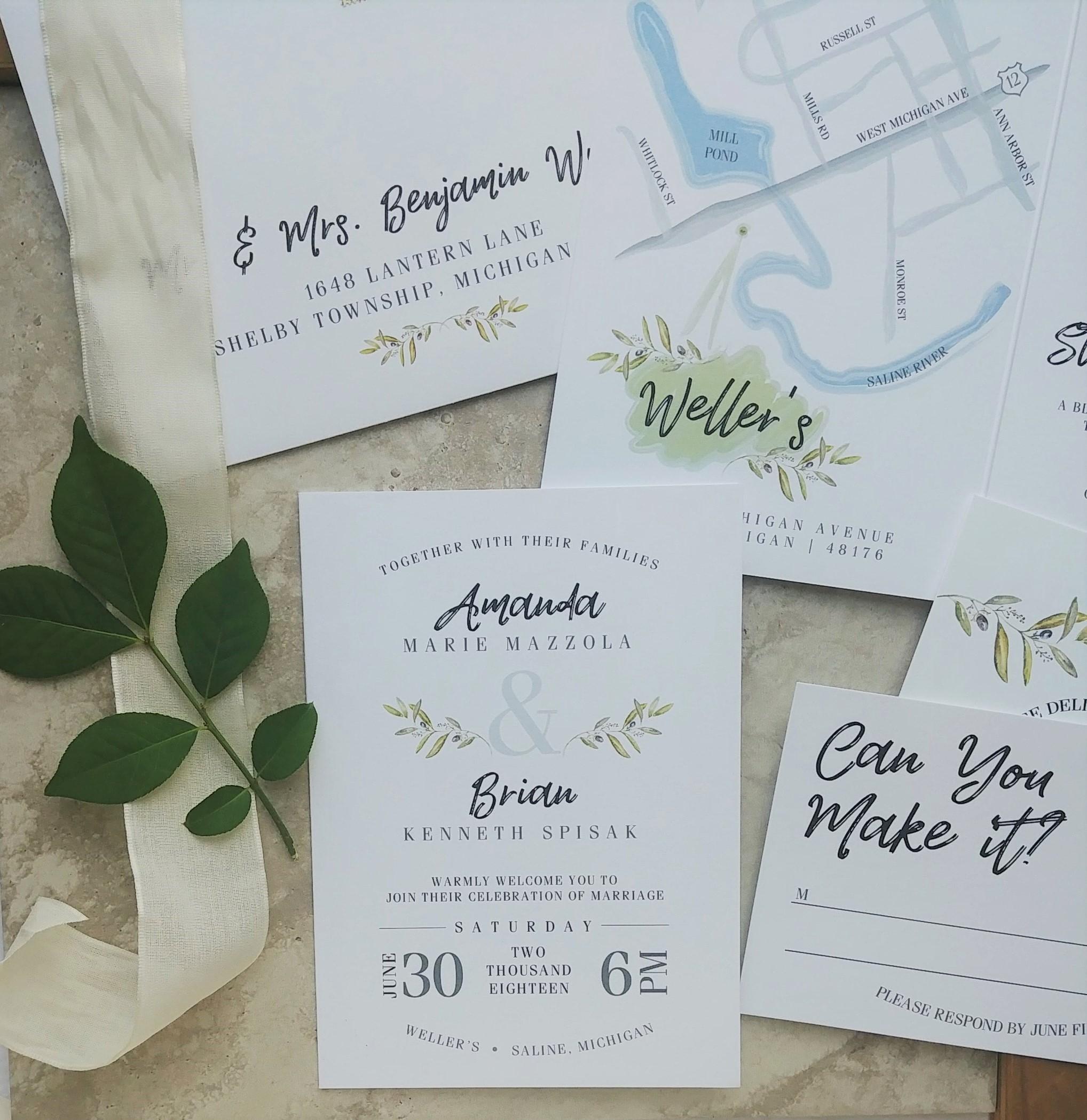 Cordial Punch Press Fresh Minimal Greenery Booklet Wedding Invitation