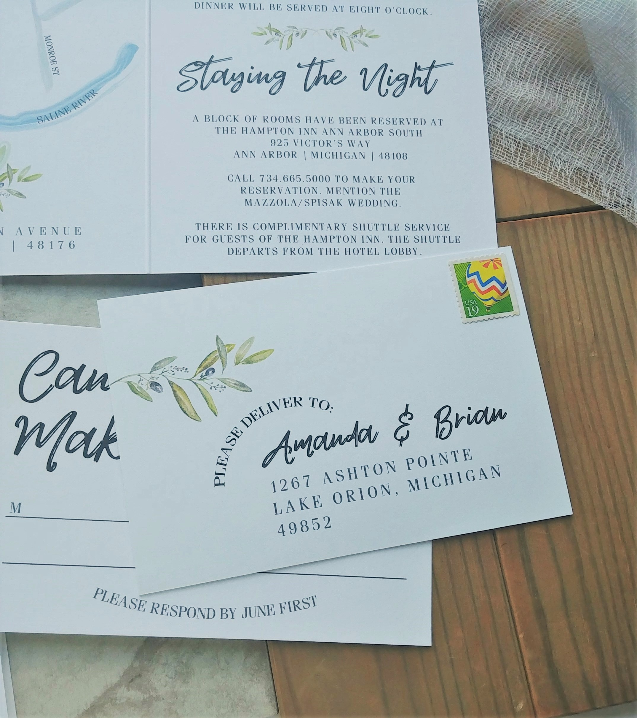 Cordial Punch Press Fresh Minimal Greenery Booklet Wedding Invitation with Postcard RSVP